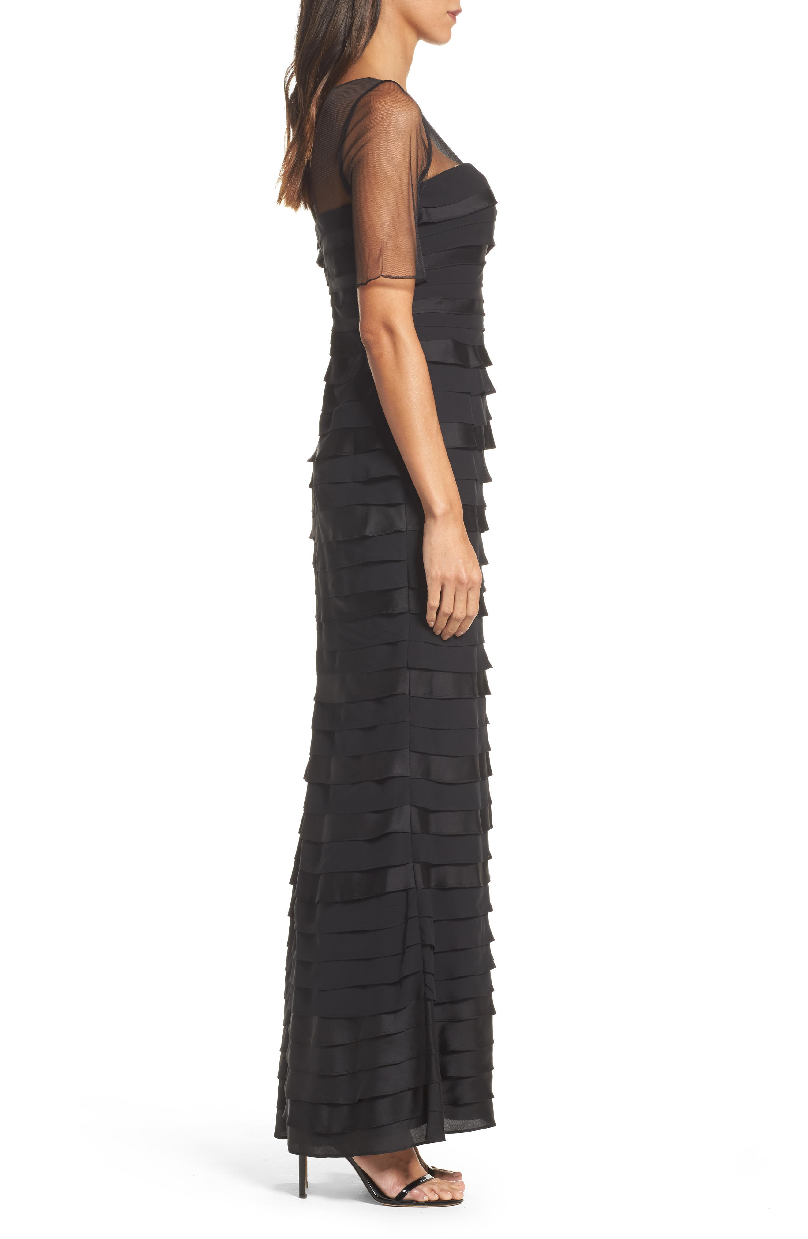 Illusion Shutter Chiffon Gown,                             Alternate thumbnail 3, color,                             Black