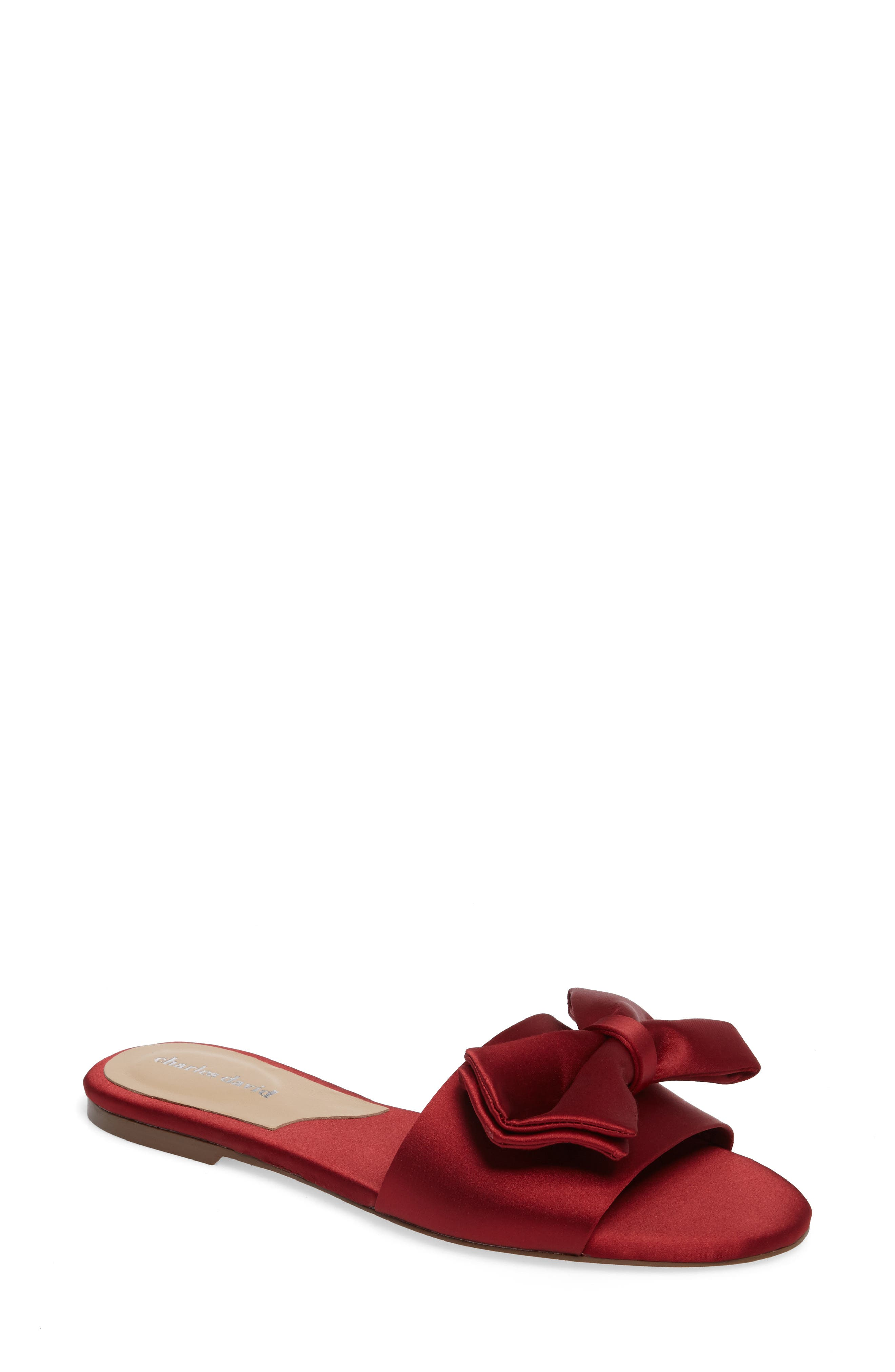Bow Slide Sandal,                         Main,                         color, Burgundy Satin