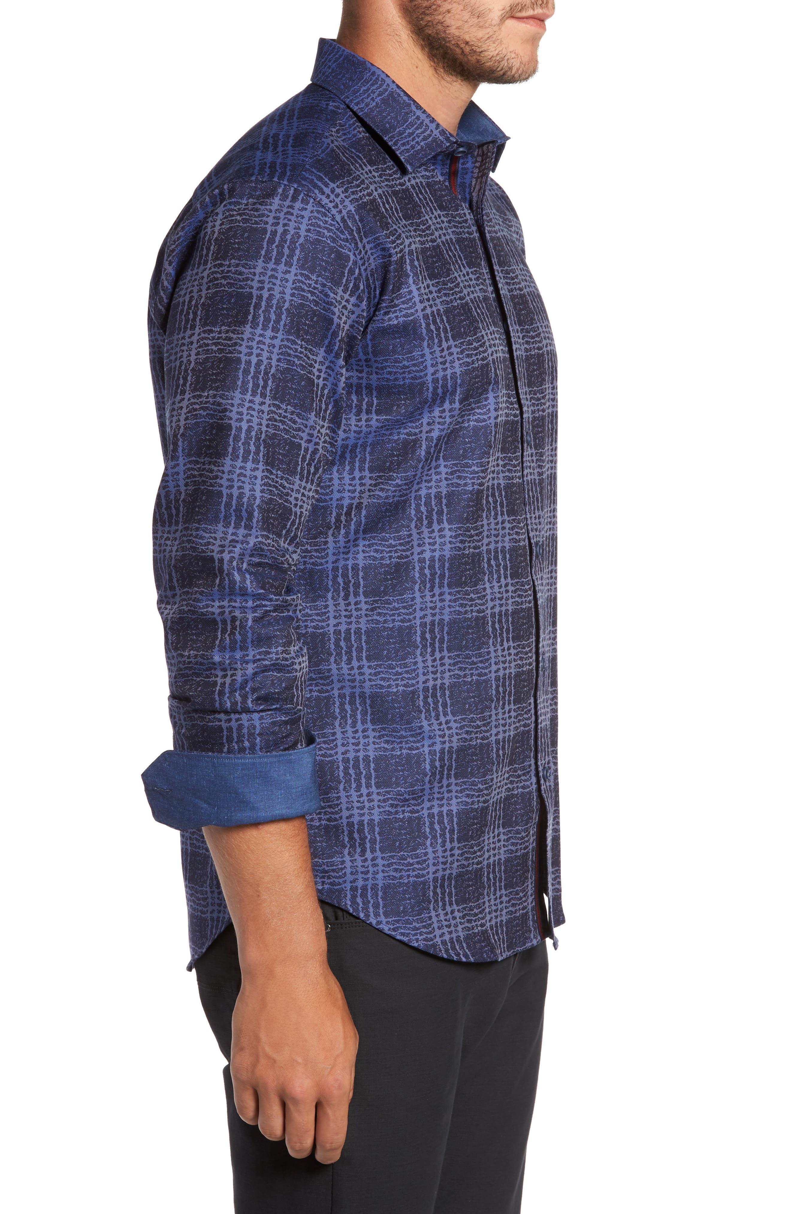 Shaped Fit Print Sport Shirt,                             Alternate thumbnail 3, color,                             Night Blue