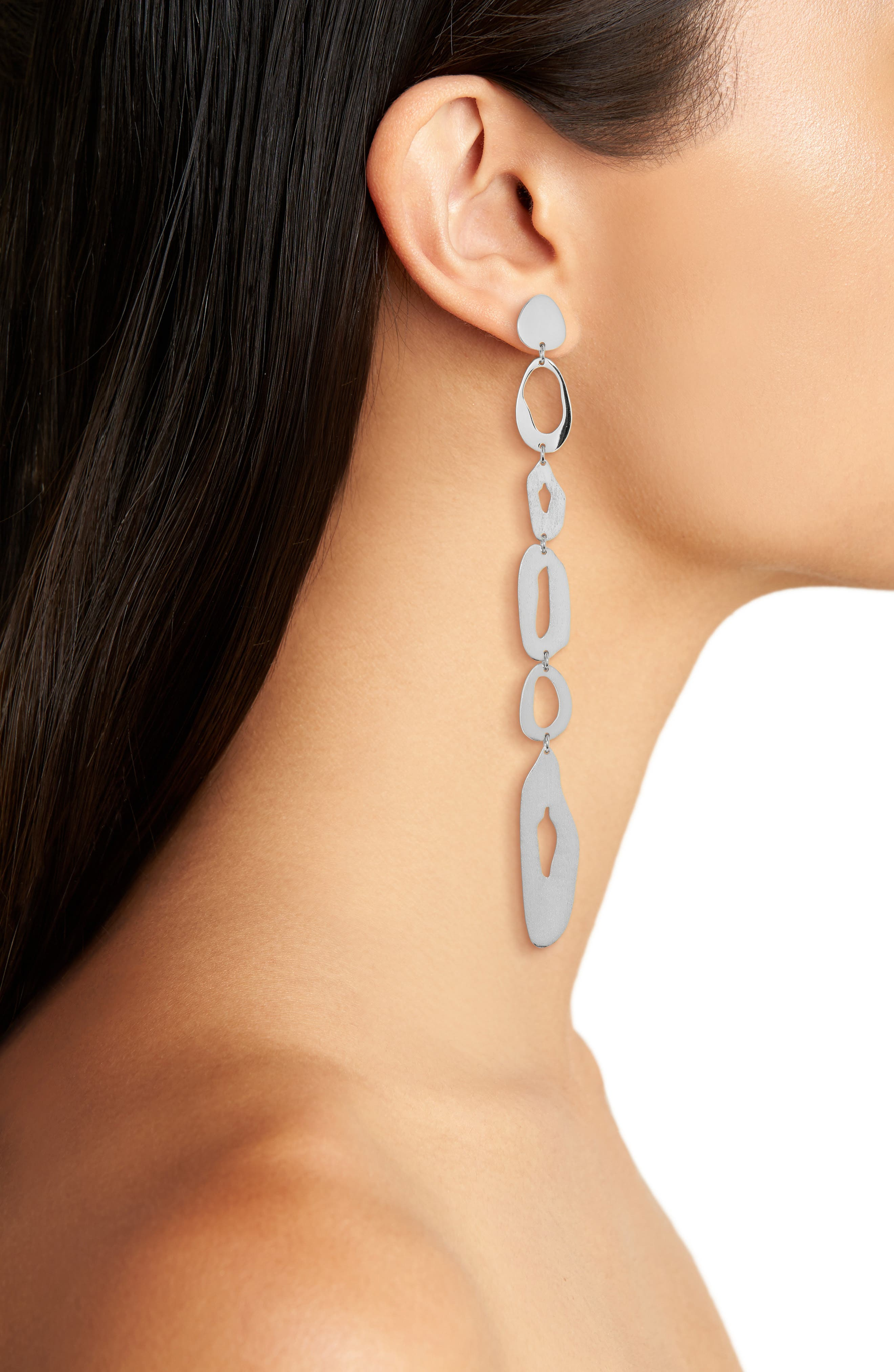 Extra Long Linear Earrings,                             Alternate thumbnail 2, color,                             Silver