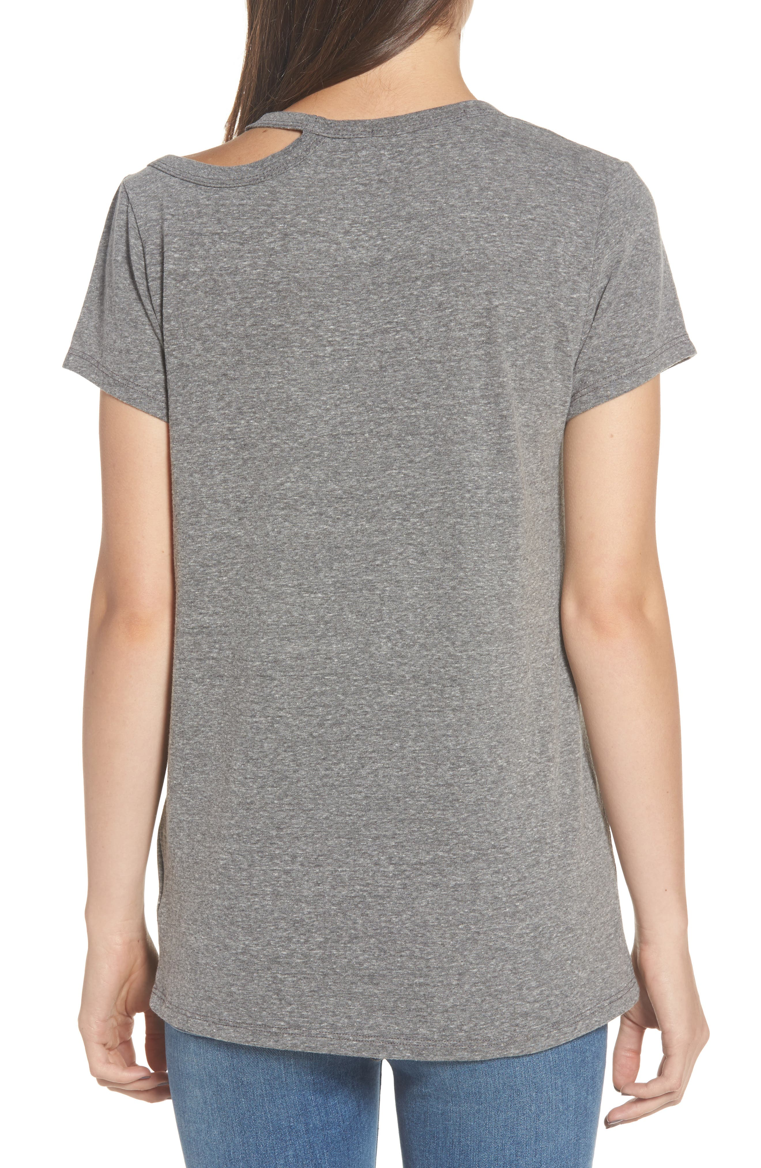 High/Low Hem Tee,                             Alternate thumbnail 2, color,                             Heather Grey