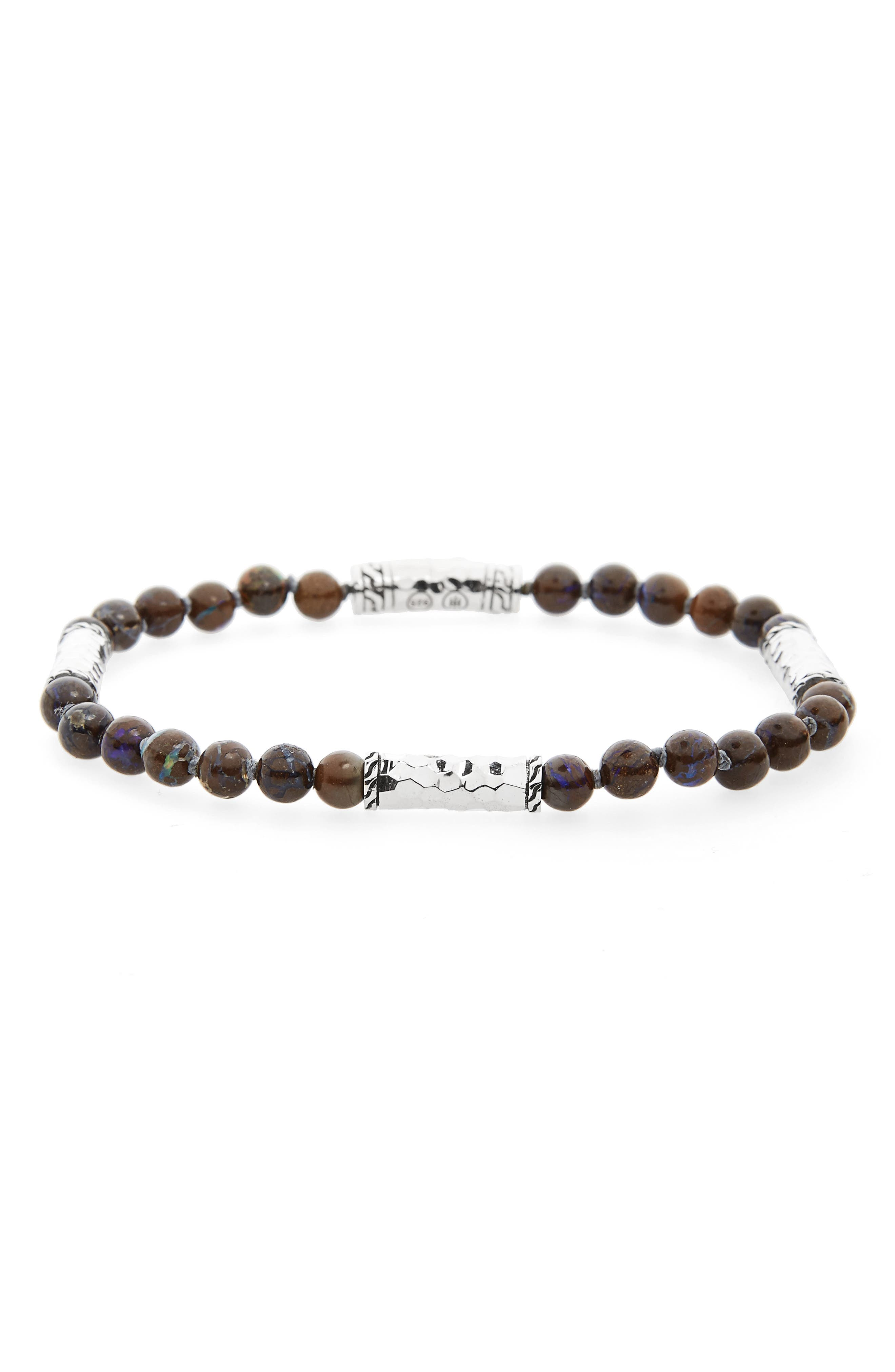 Classic Chain Silver Bracelet,                         Main,                         color, Brown