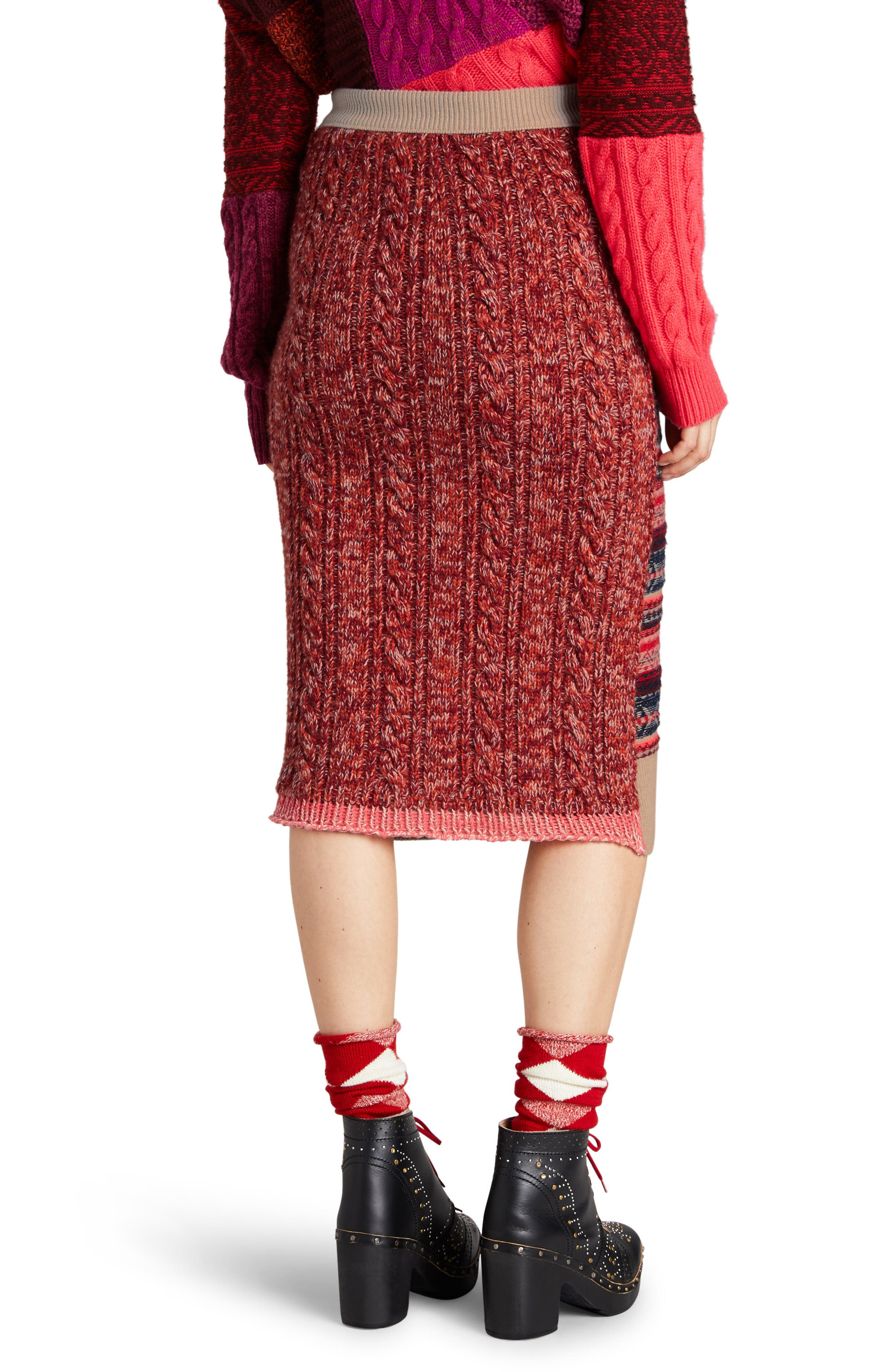 Knit Wool Blend Pencil Skirt,                             Alternate thumbnail 2, color,                             Multicolor