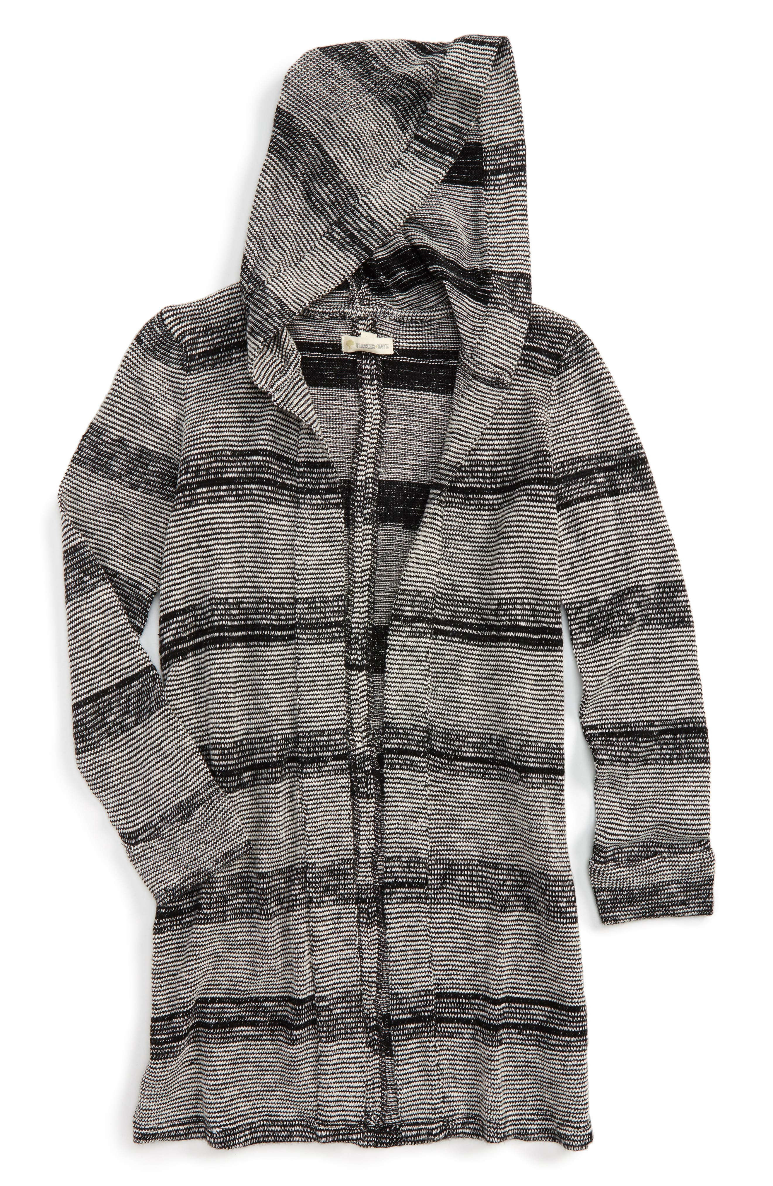 Tucker + Tate Hooded Open Duster Cardigan (Big Girls)