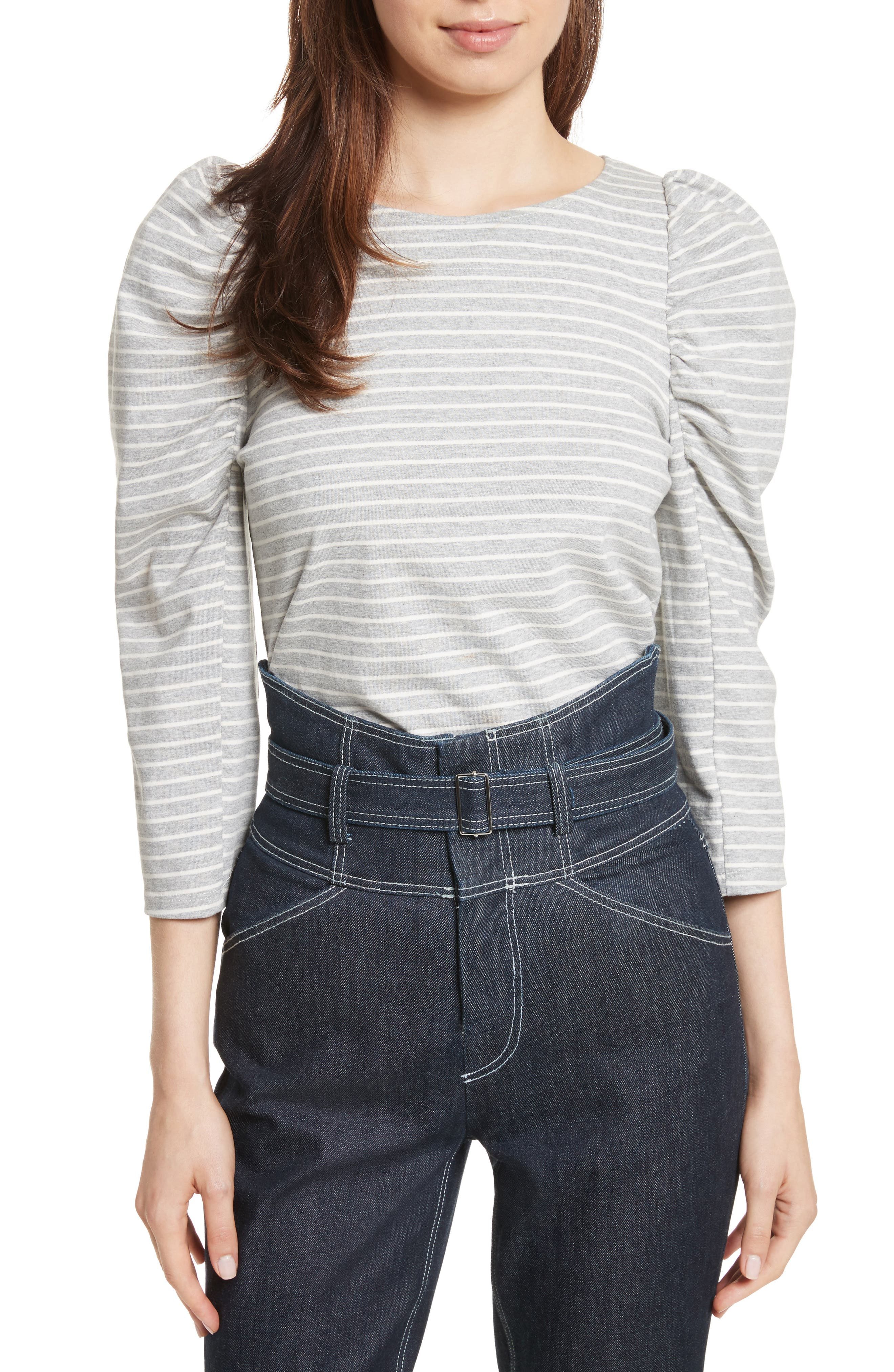 Stripe Jersey Top,                             Main thumbnail 1, color,                             Heather Grey Combo