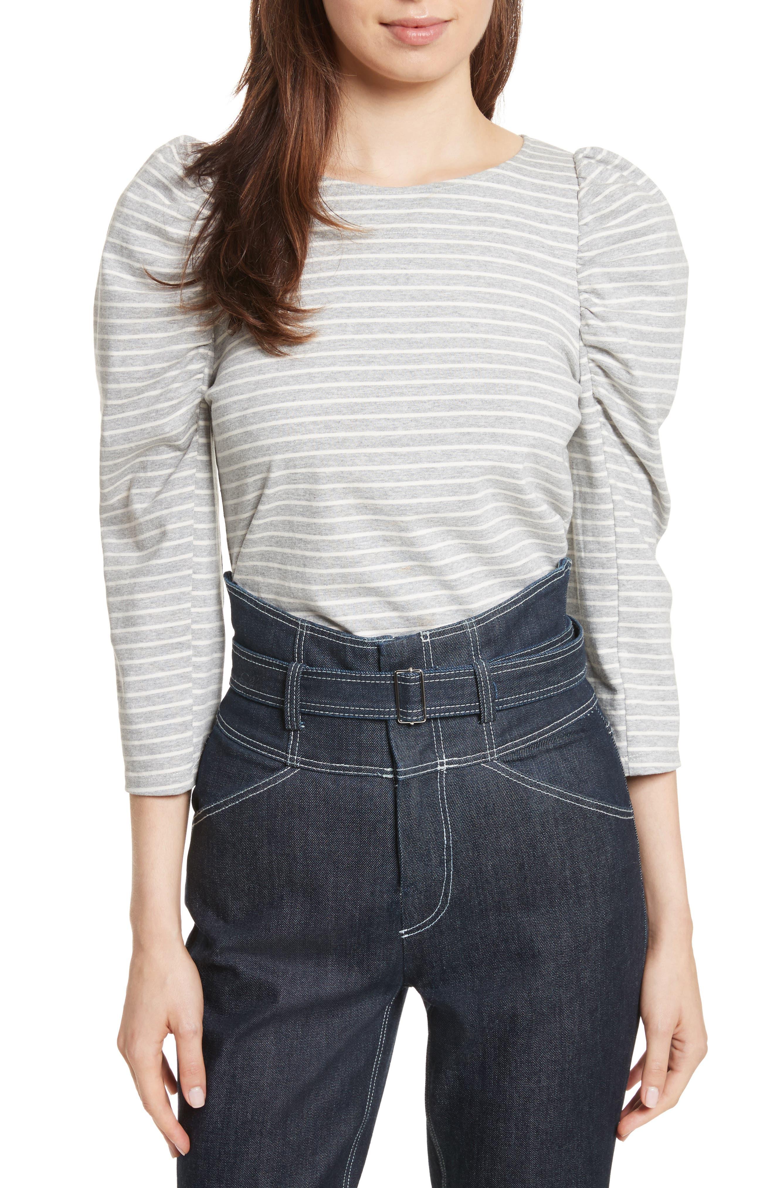 Stripe Jersey Top,                         Main,                         color, Heather Grey Combo