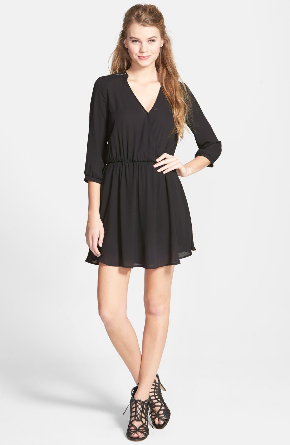 Kendal' Surplice Faux Wrap Dress,                             Main thumbnail 1, color,                             Black