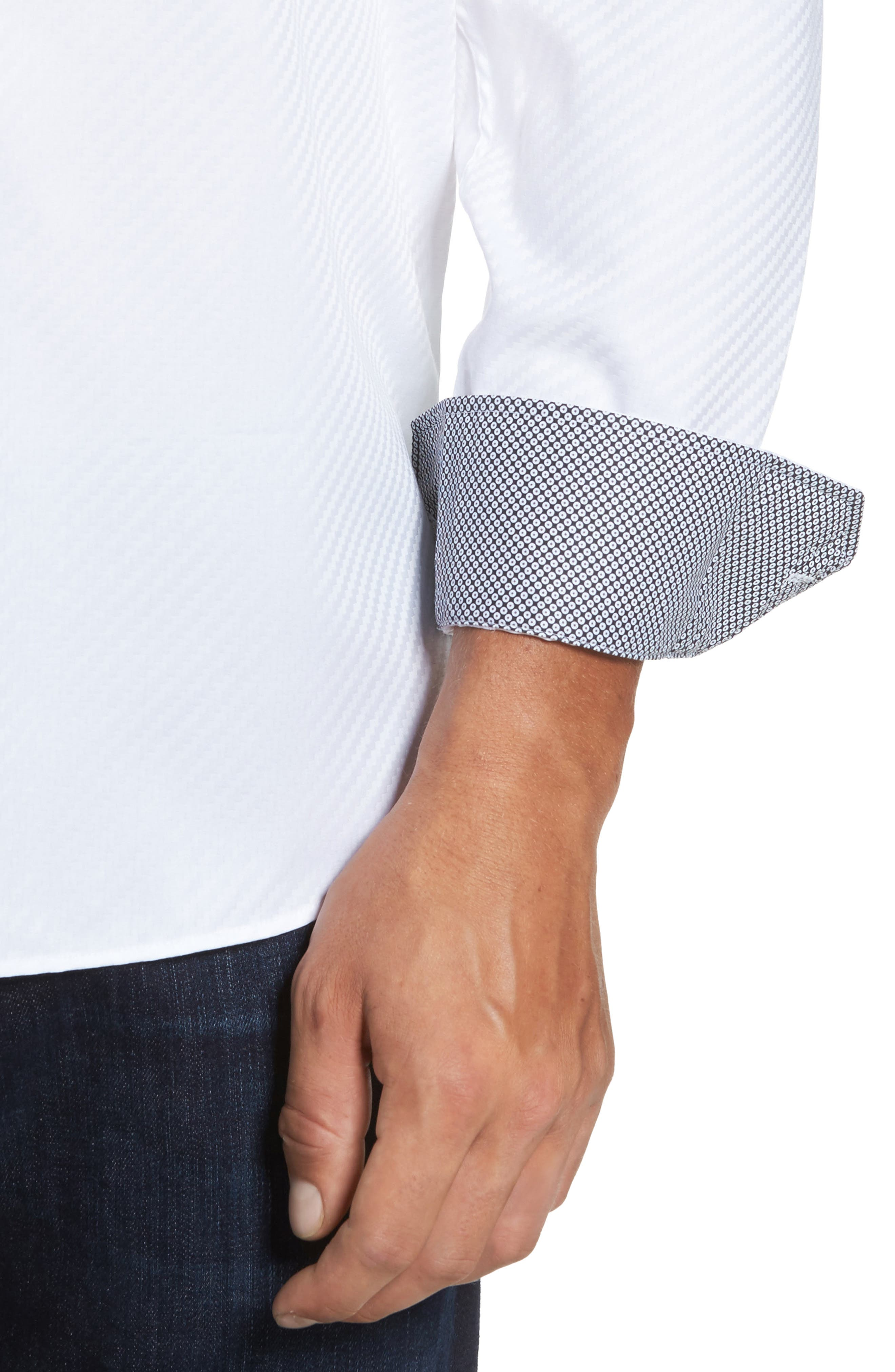 Alternate Image 4  - Bugatchi Classic Fit Diagonal Jacquard Sport Shirt