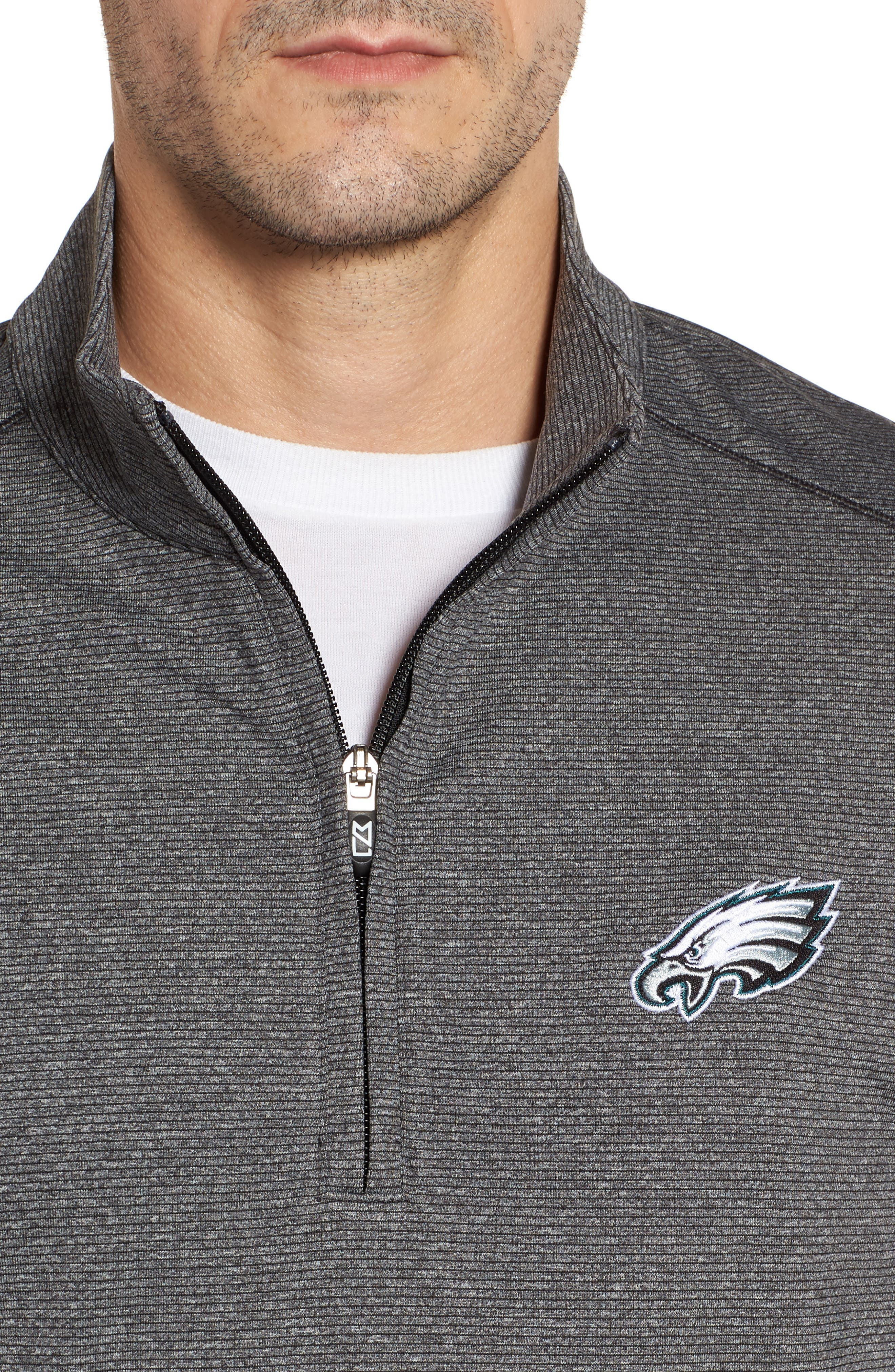 Shoreline - Philadelphia Eagles Half Zip Pullover,                             Alternate thumbnail 4, color,                             Charcoal Heather