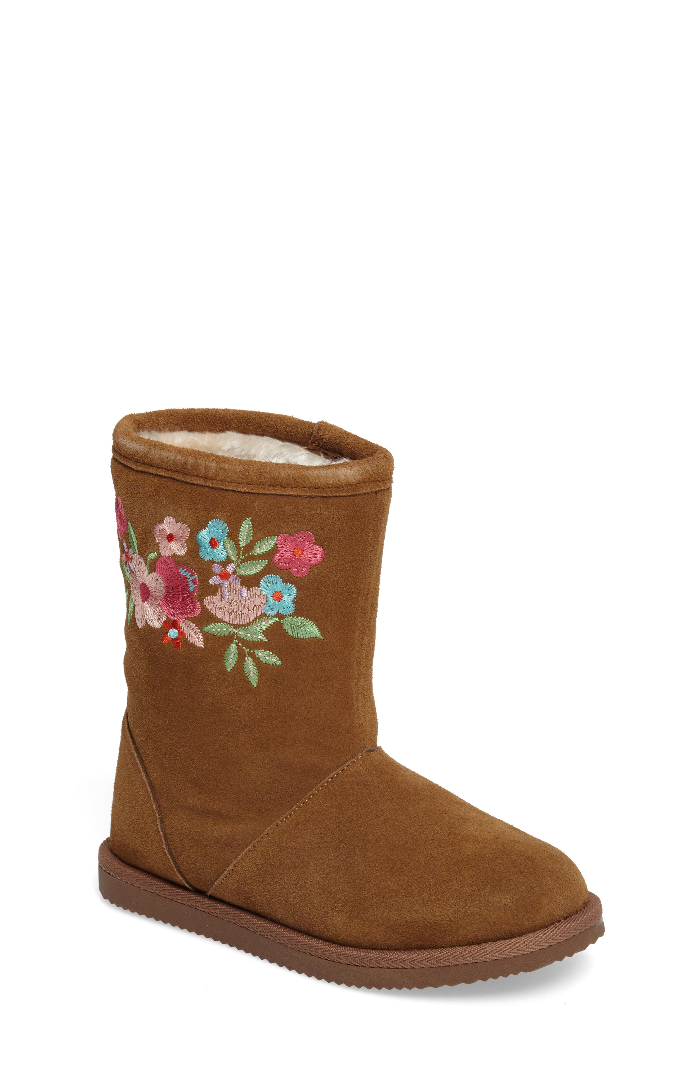 Aline Embroidered Faux Fur Boot,                             Main thumbnail 1, color,                             Chestnut Suede