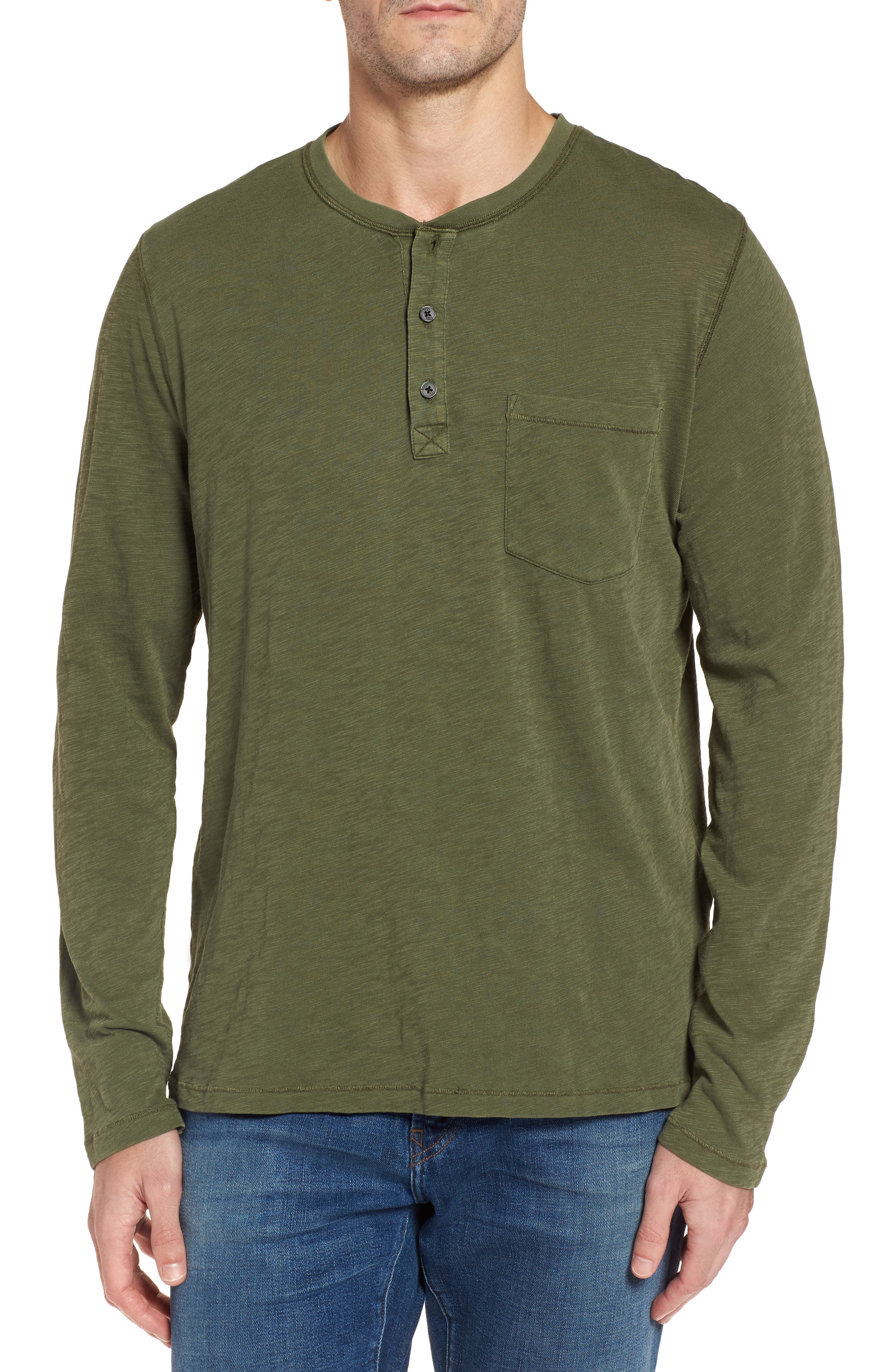 Long Sleeve Henley T-Shirt,                         Main,                         color, Olive
