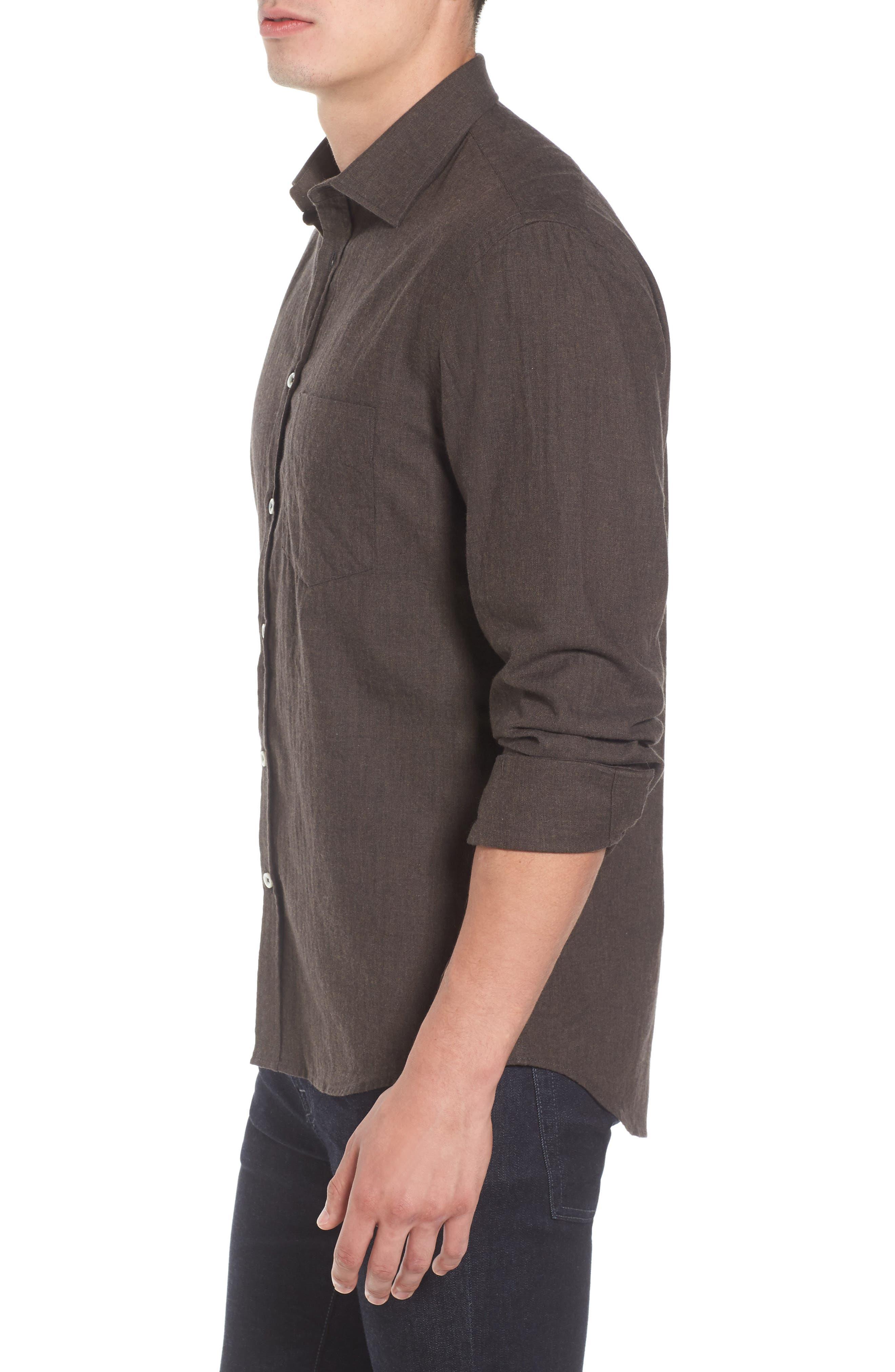 John T Standard Fit Herringbone Shirt,                             Alternate thumbnail 3, color,                             Brown