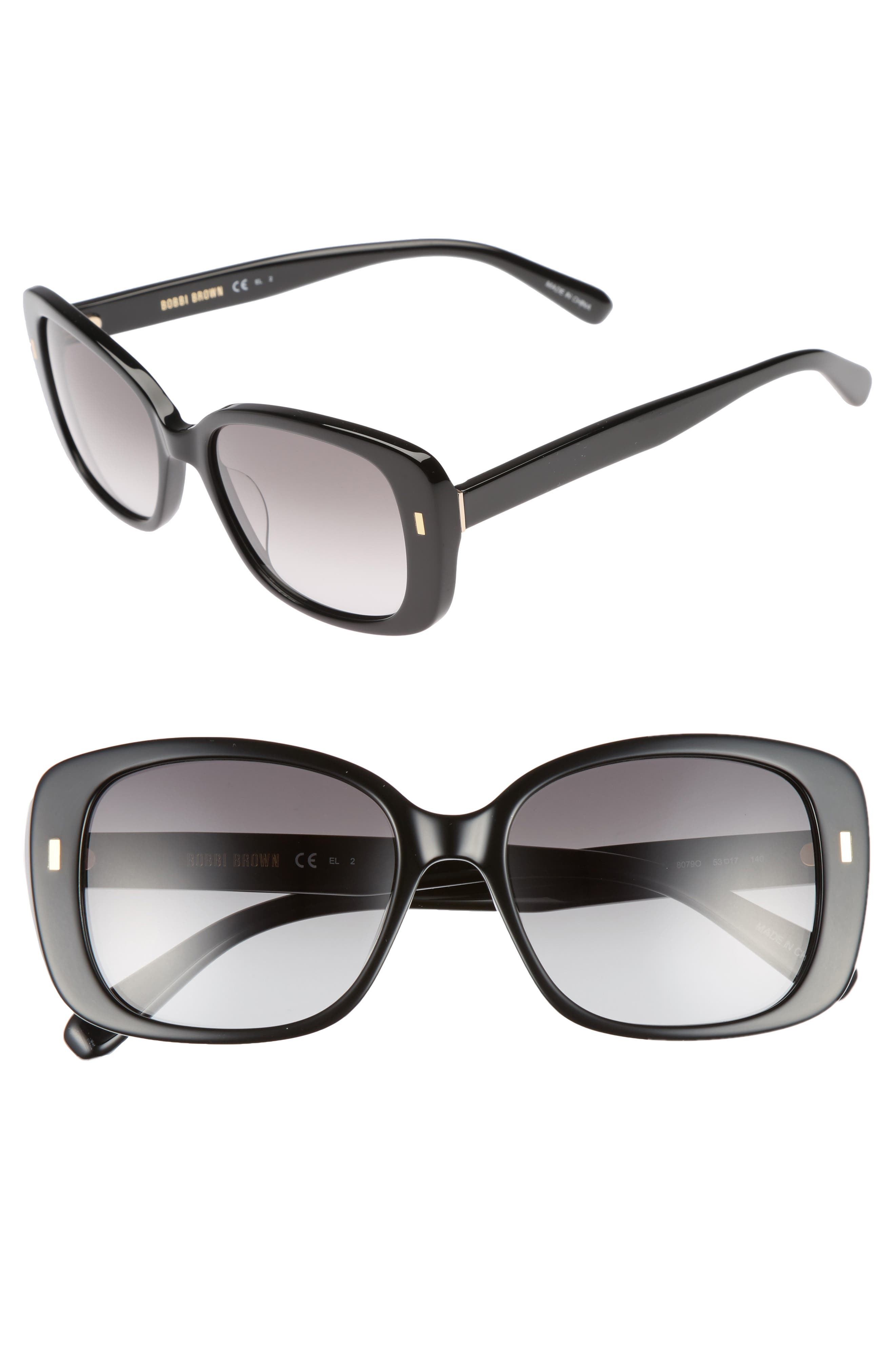 The Audrey 53mm Square Sunglasses,                             Main thumbnail 1, color,                             Black
