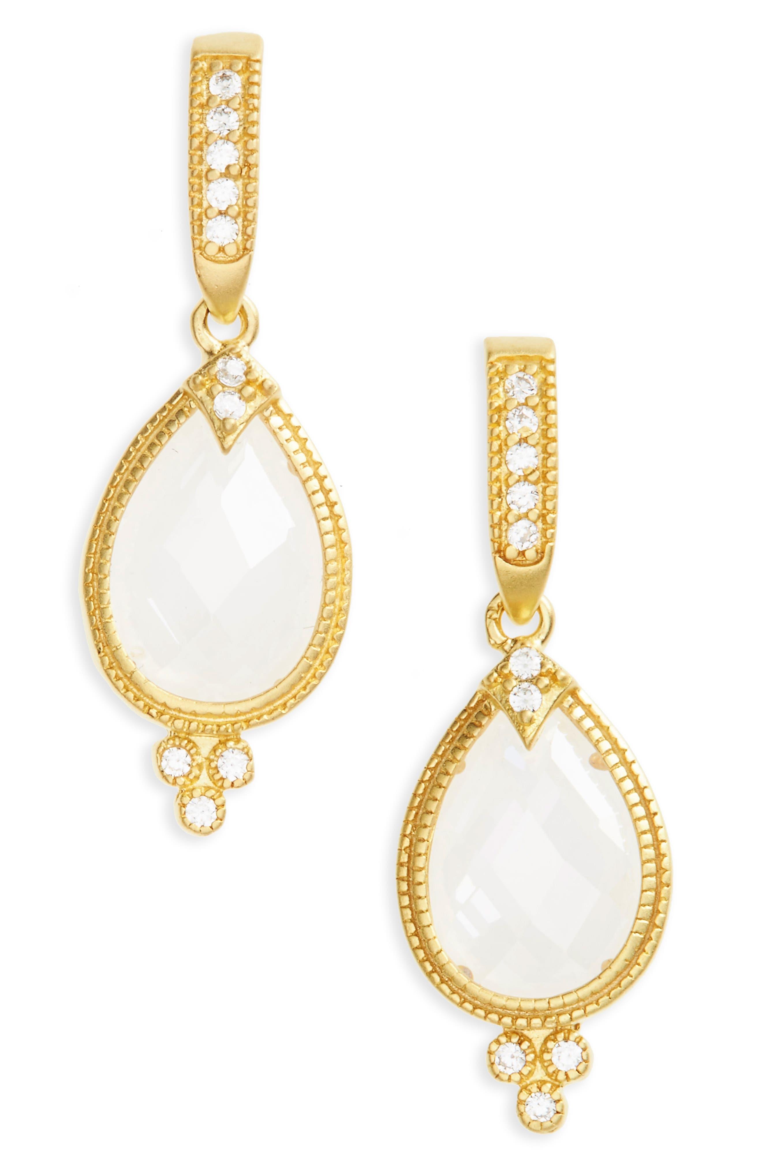 Audrey Teardrop Earrings,                         Main,                         color, Gold/ Clear
