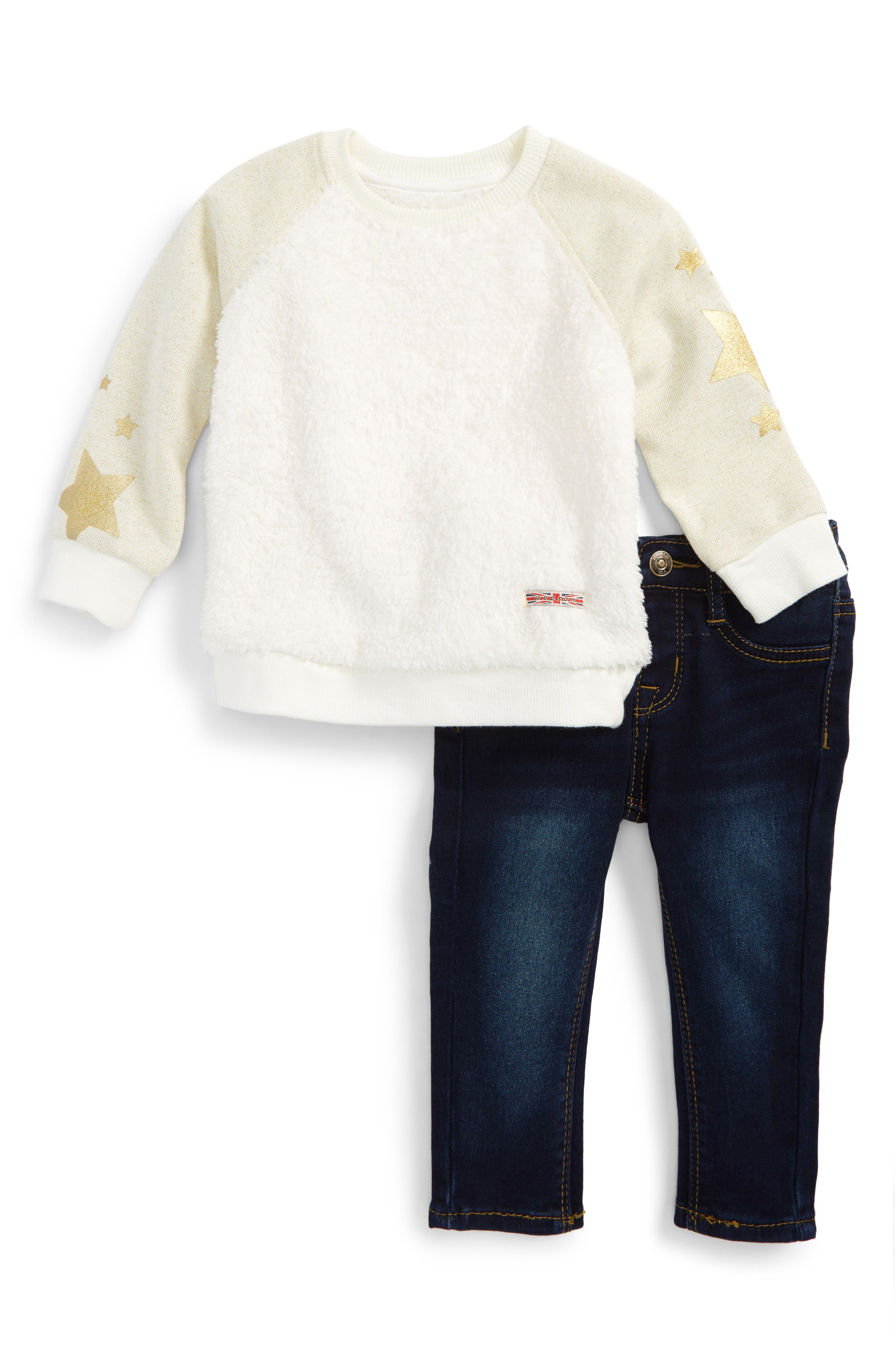 Fleece Sweatshirt & Jeans Set,                             Main thumbnail 1, color,                             Pressed Rinse