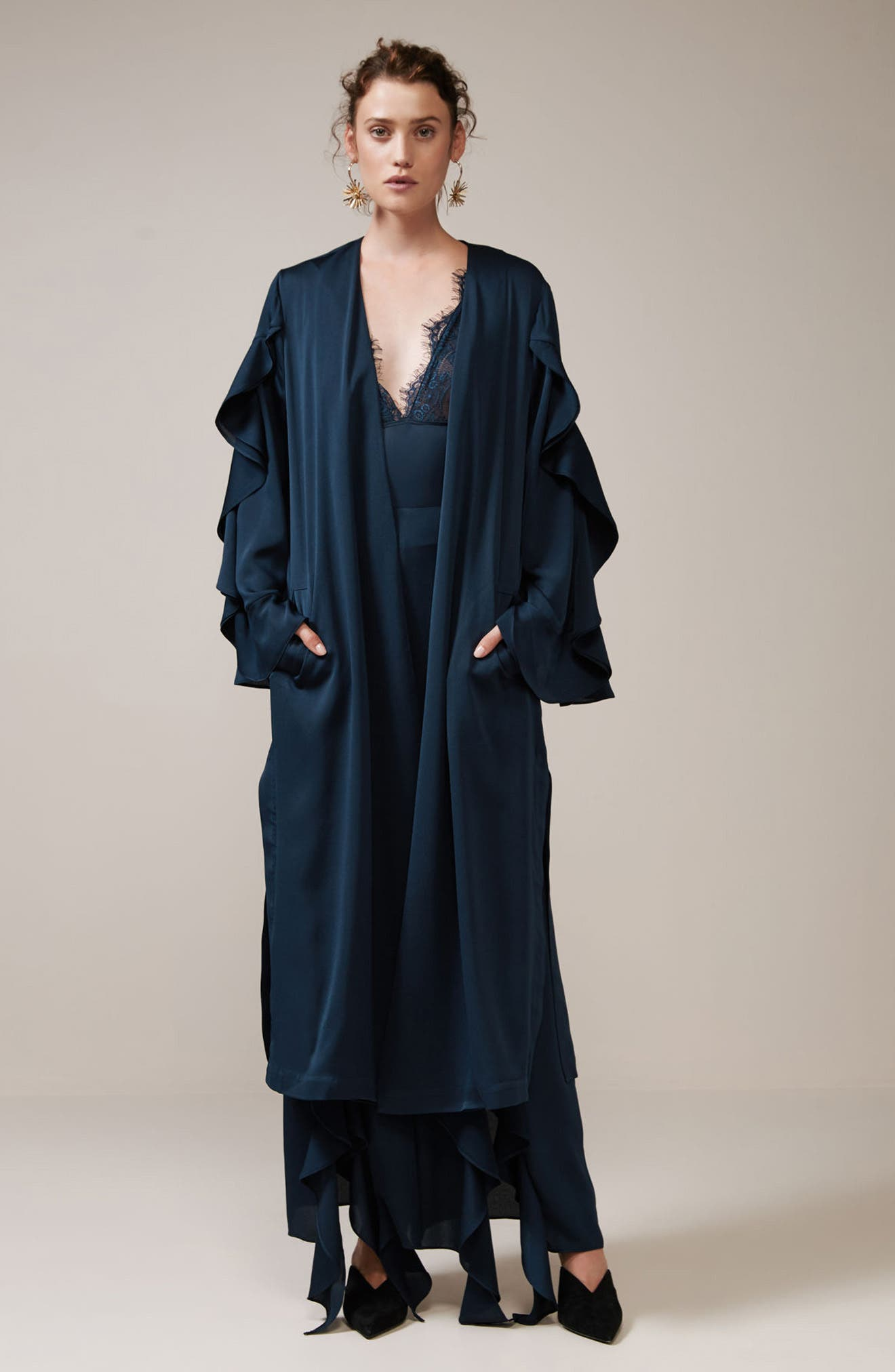 Teardrop Long Coat,                             Alternate thumbnail 2, color,                             Navy