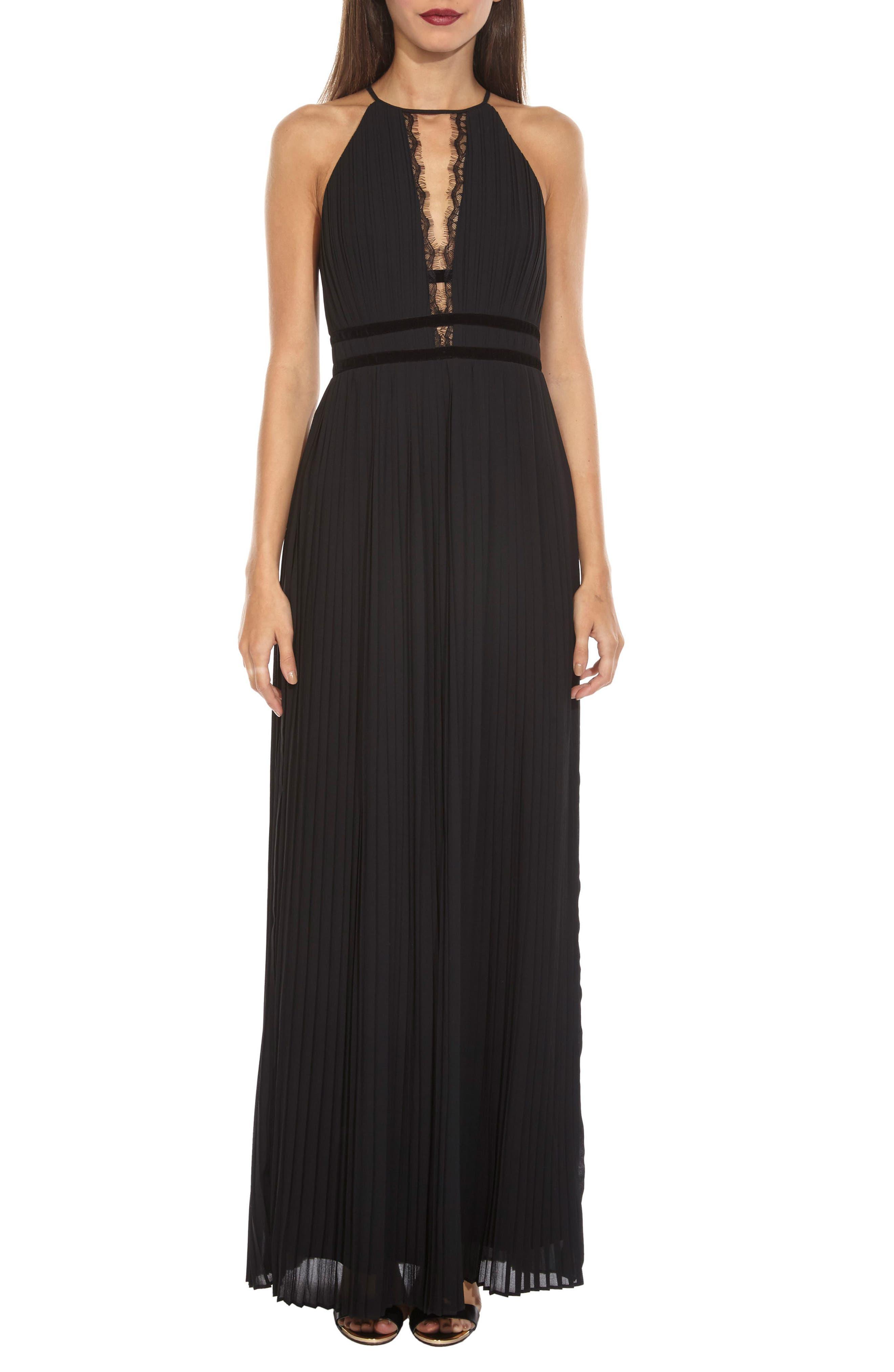 Aberda Plunging Keyhole Maxi Dress,                         Main,                         color, Black
