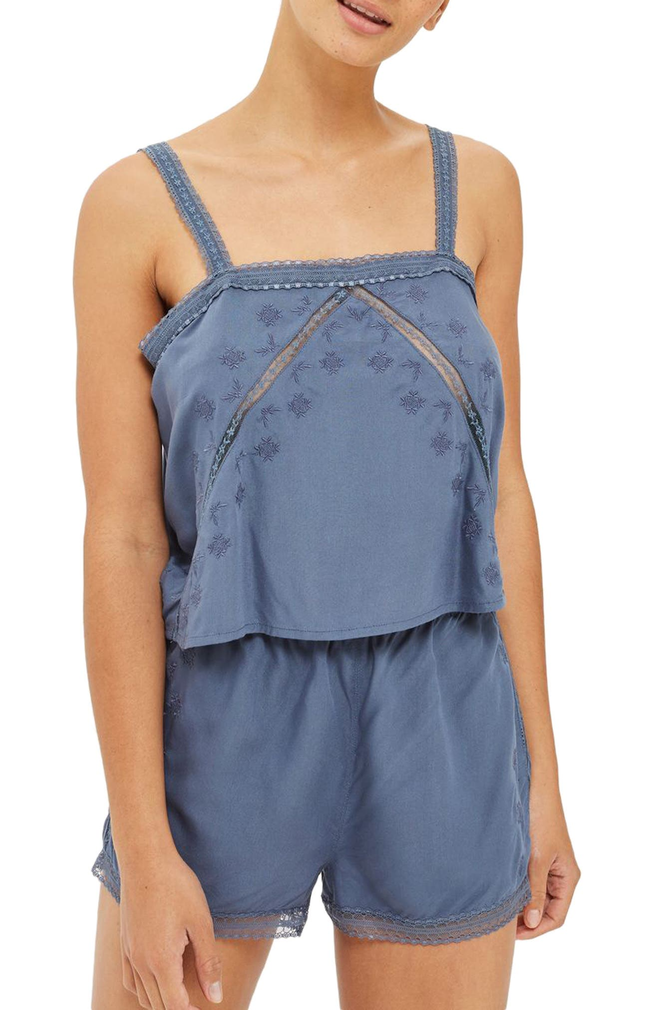 Topshop Slate Broderie Camisole & Sleep Shorts