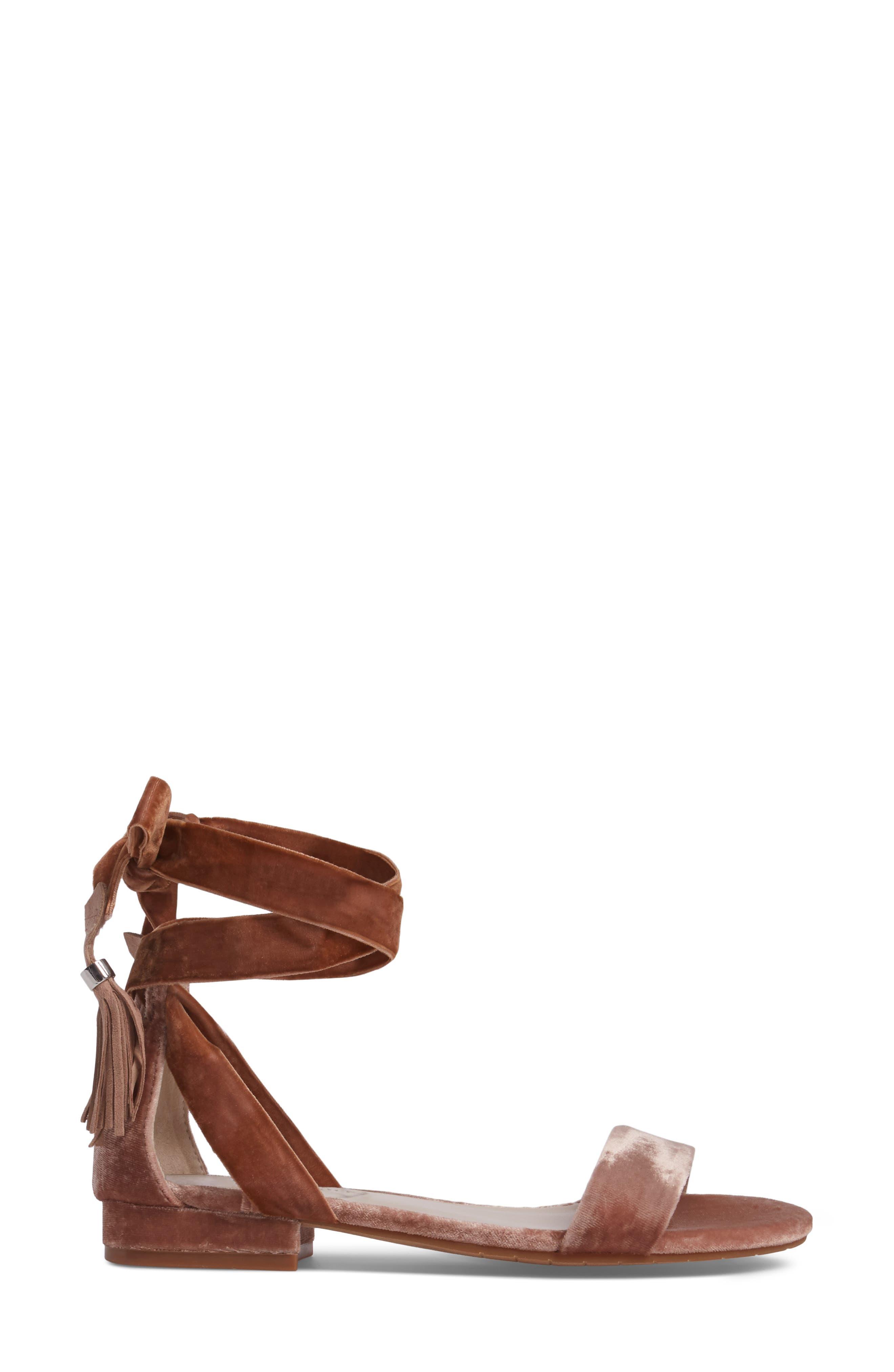 Valen Tassel Lace-Up Sandal,                             Alternate thumbnail 3, color,                             Blush Velvet