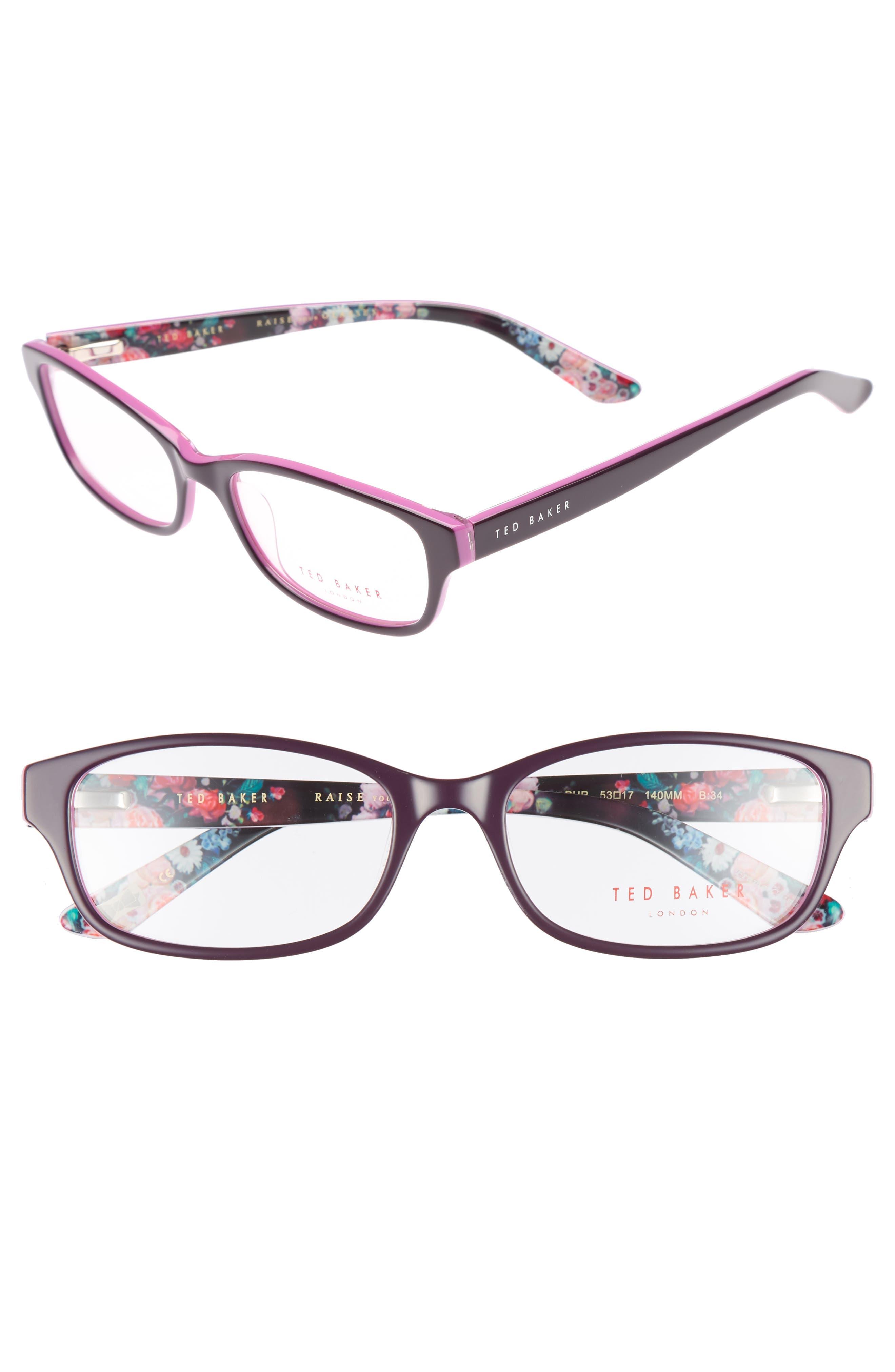53mm Optical Glasses,                             Main thumbnail 1, color,                             Purple