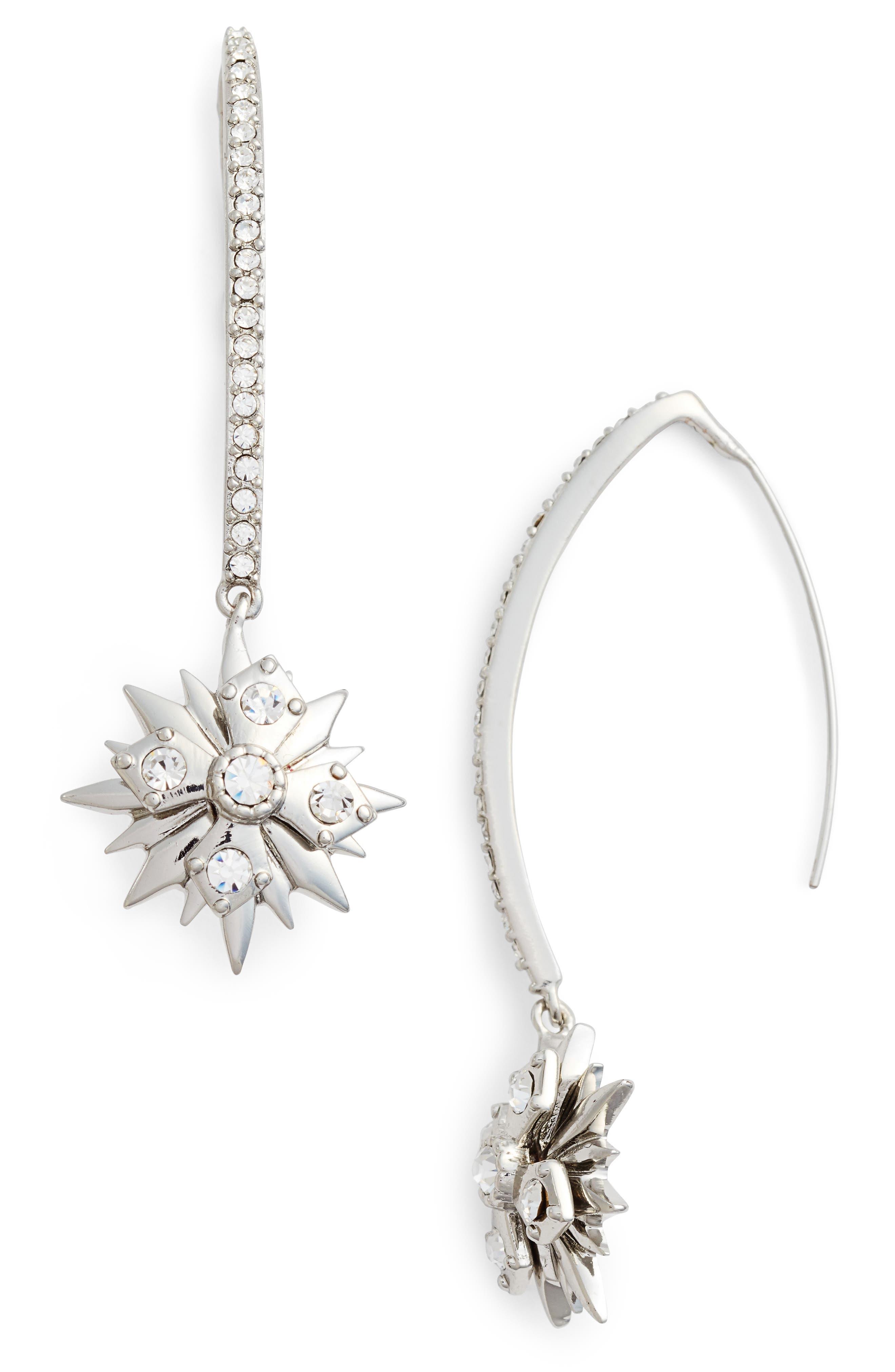 Star Threader Earrings,                         Main,                         color, Silver/ Crystal