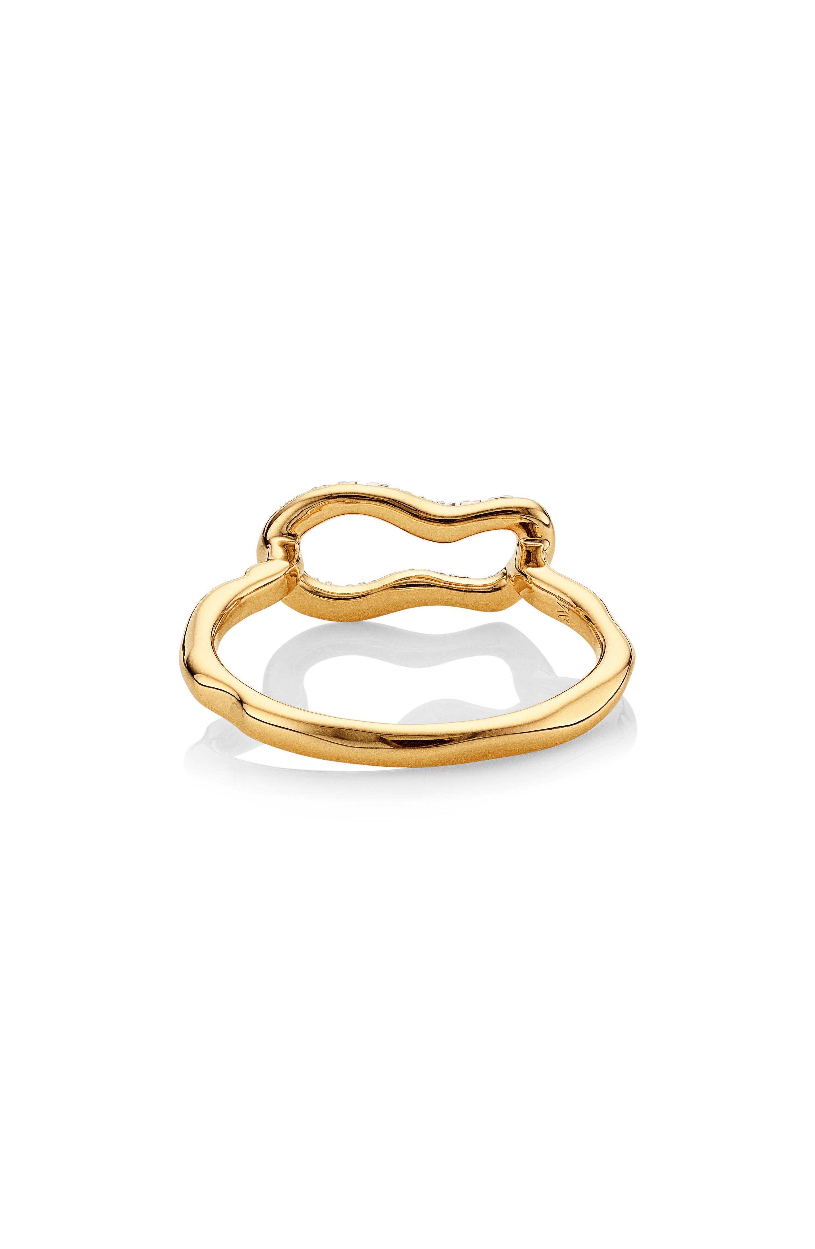 Alternate Image 2  - Monica Vinader Riva Mini Pod Vermeil Diamond Ring