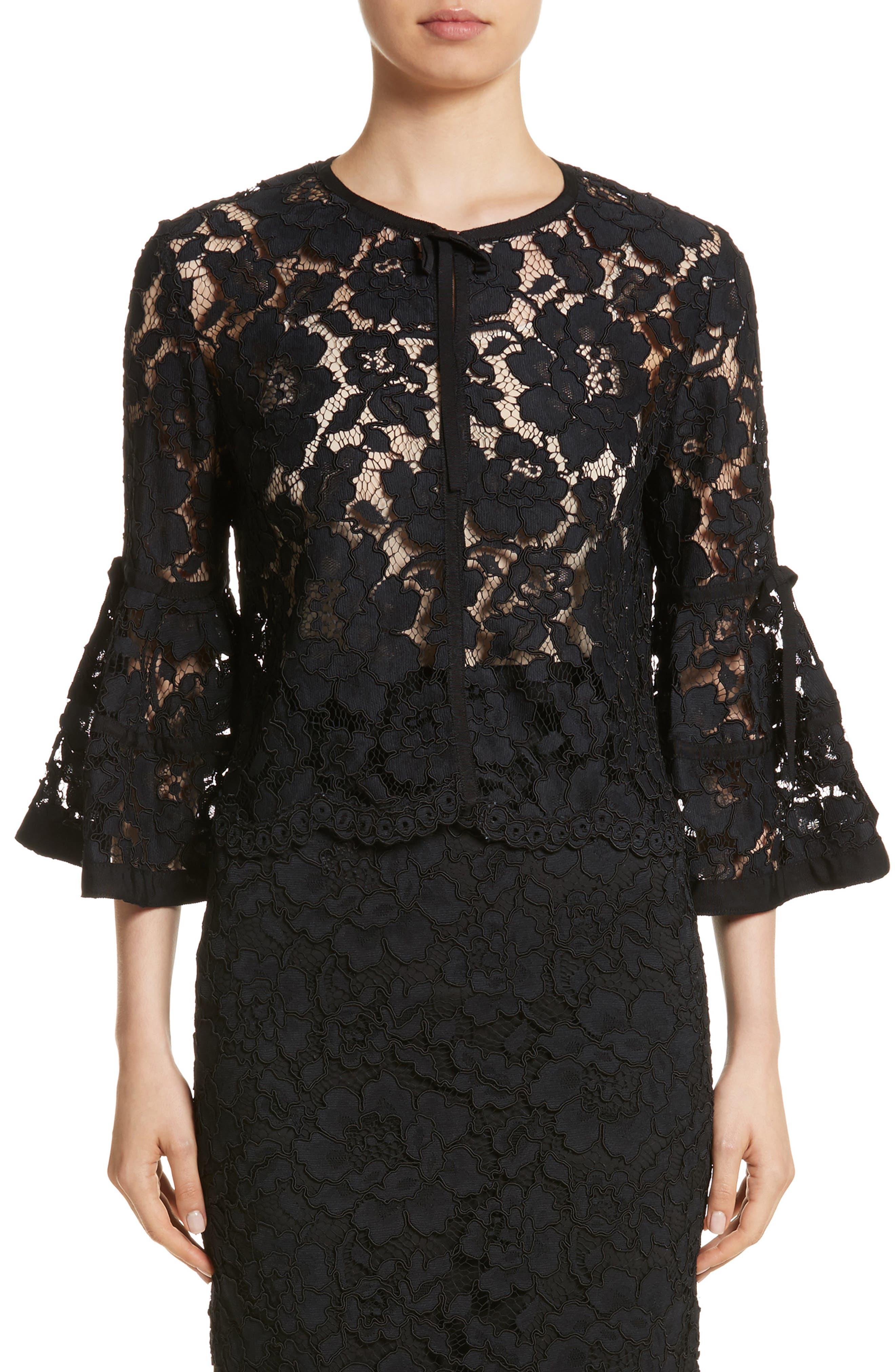 Lace Bell Sleeve Bolero,                         Main,                         color, Black