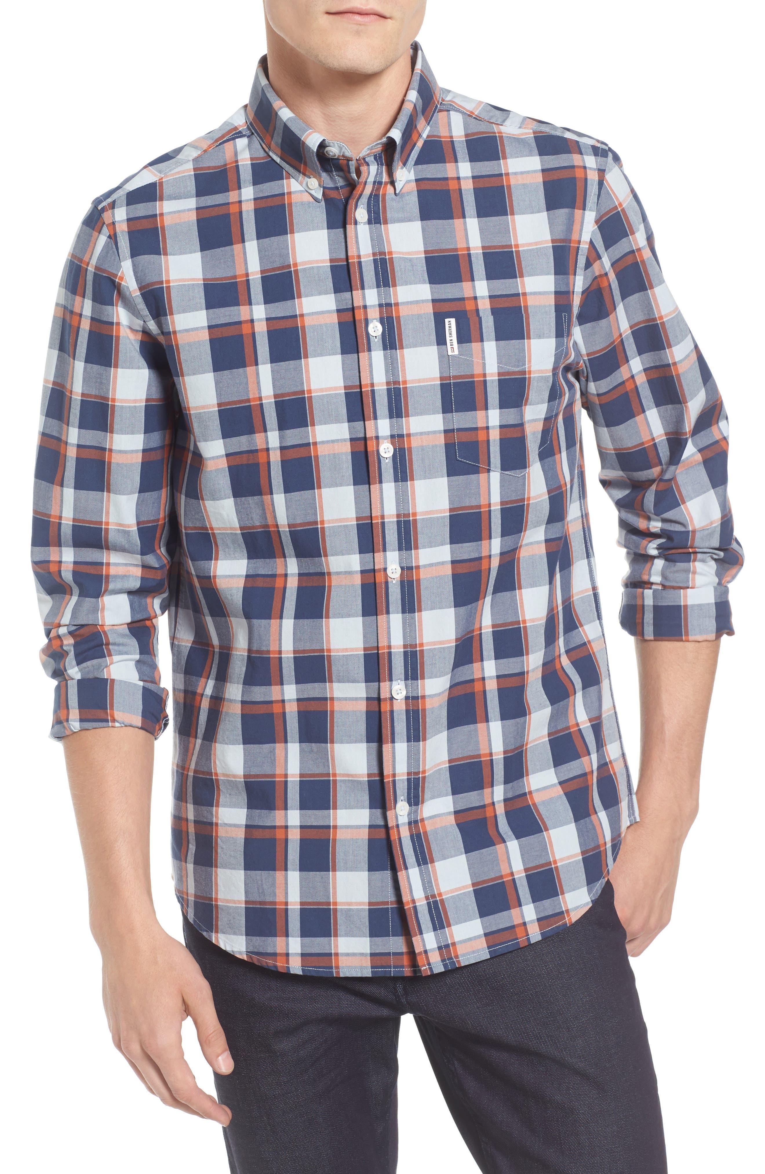 Plaid Poplin Sport Shirt,                             Main thumbnail 1, color,                             Light Blue