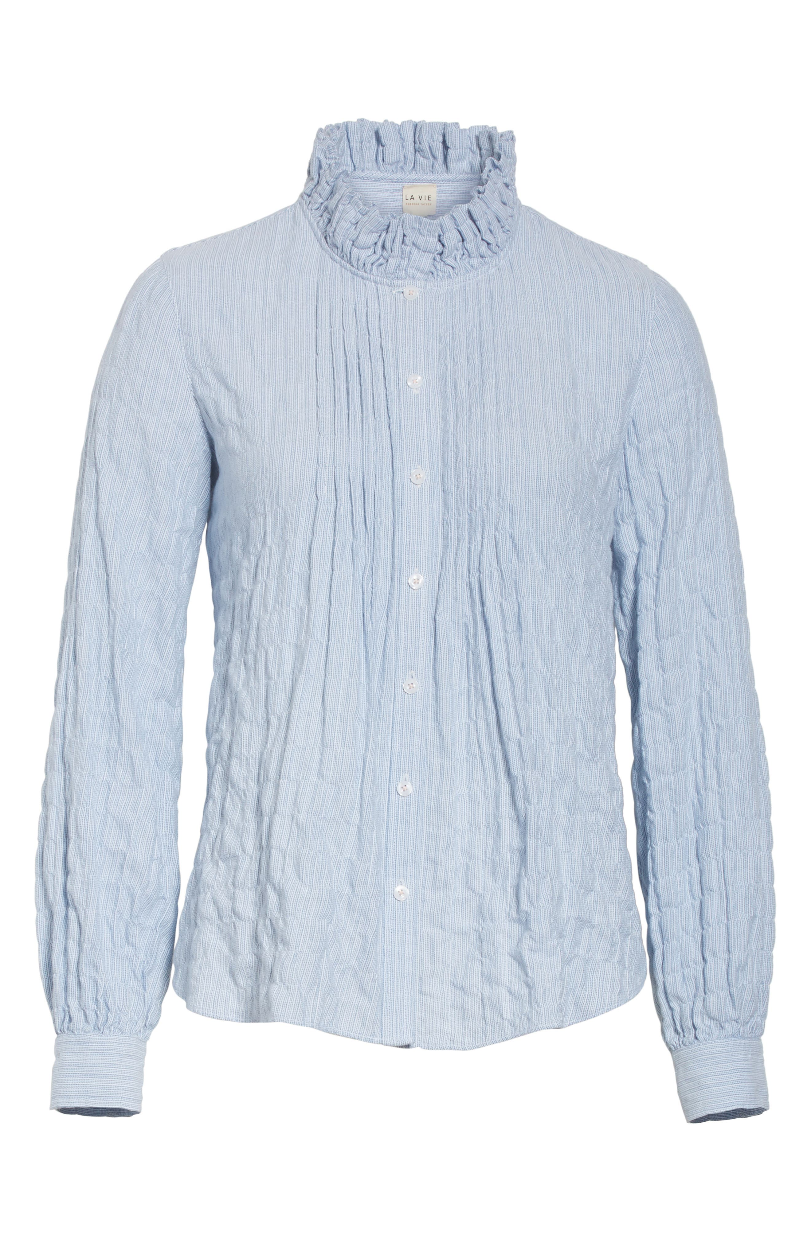 Alternate Image 6  - Rebecca Taylor Soft Stripe Quilted Shirt