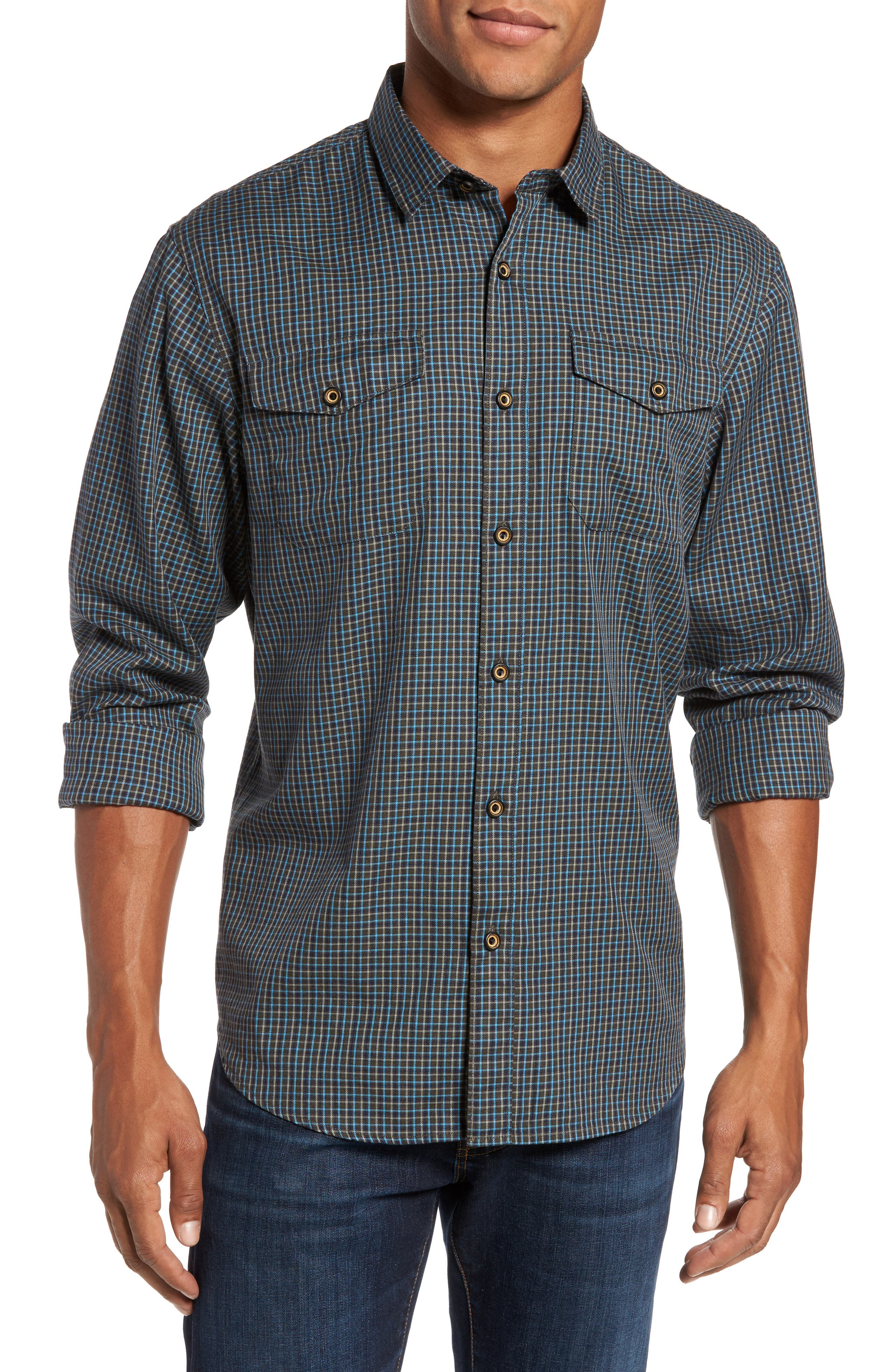 Summit Check Flannel Shirt,                         Main,                         color, Forest