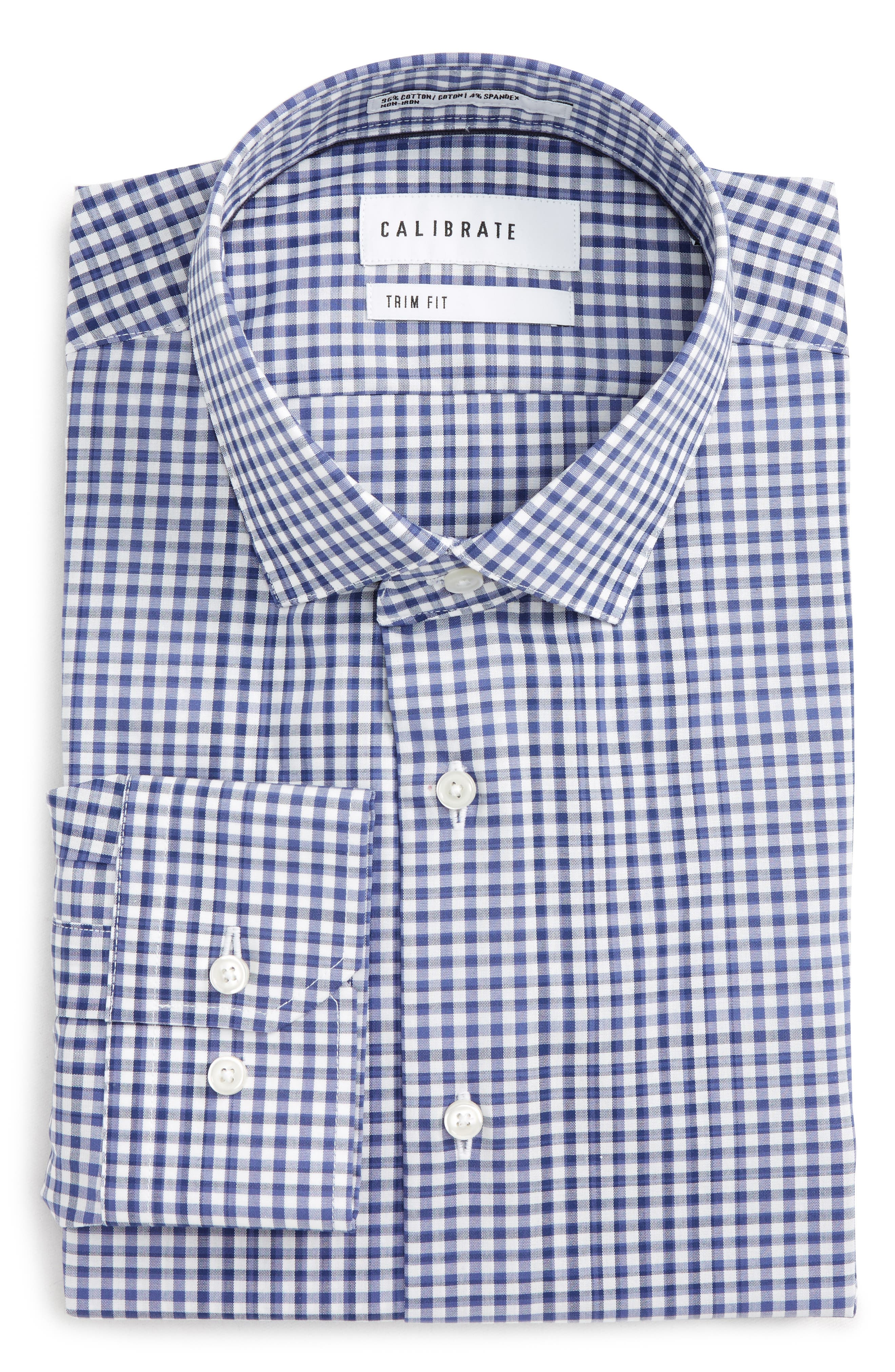 Trim Fit Stretch Non-Iron Check Dress Shirt,                             Main thumbnail 1, color,                             Blue Twilight