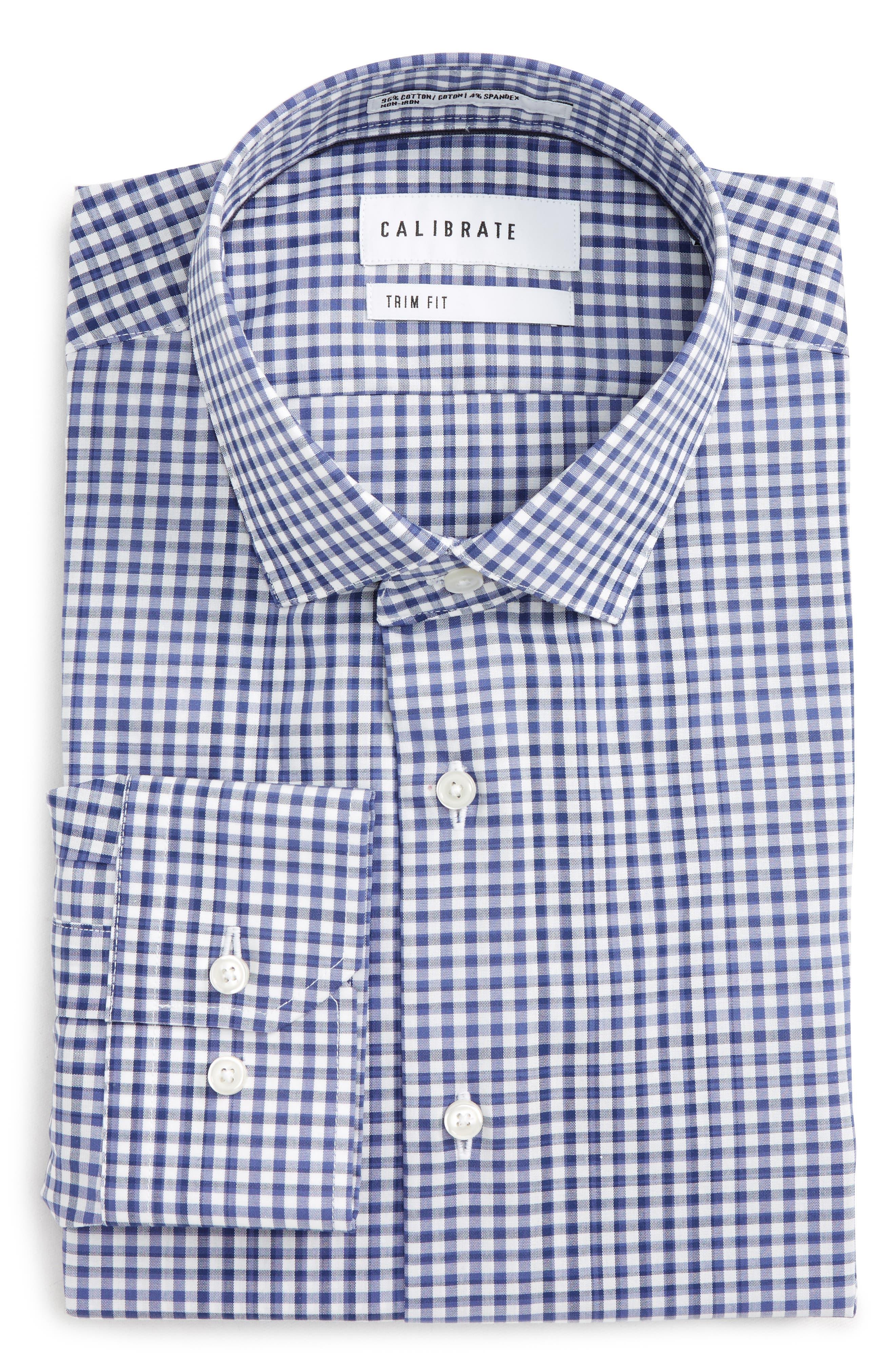 Trim Fit Stretch Non-Iron Check Dress Shirt,                         Main,                         color, Blue Twilight