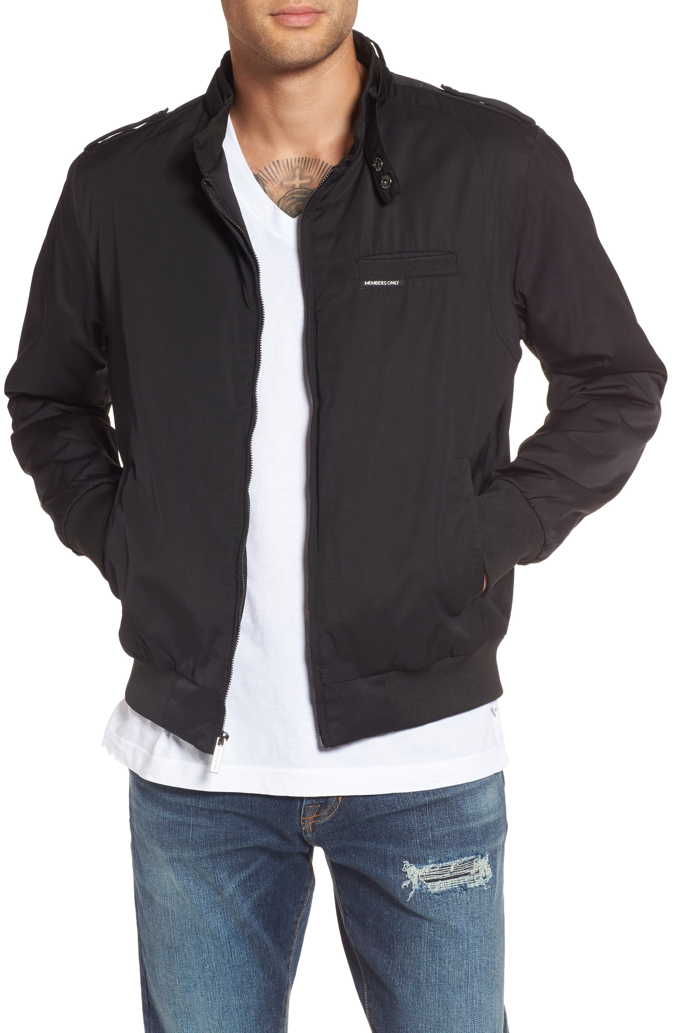 Twill Iconic Jacket,                         Main,                         color, Black
