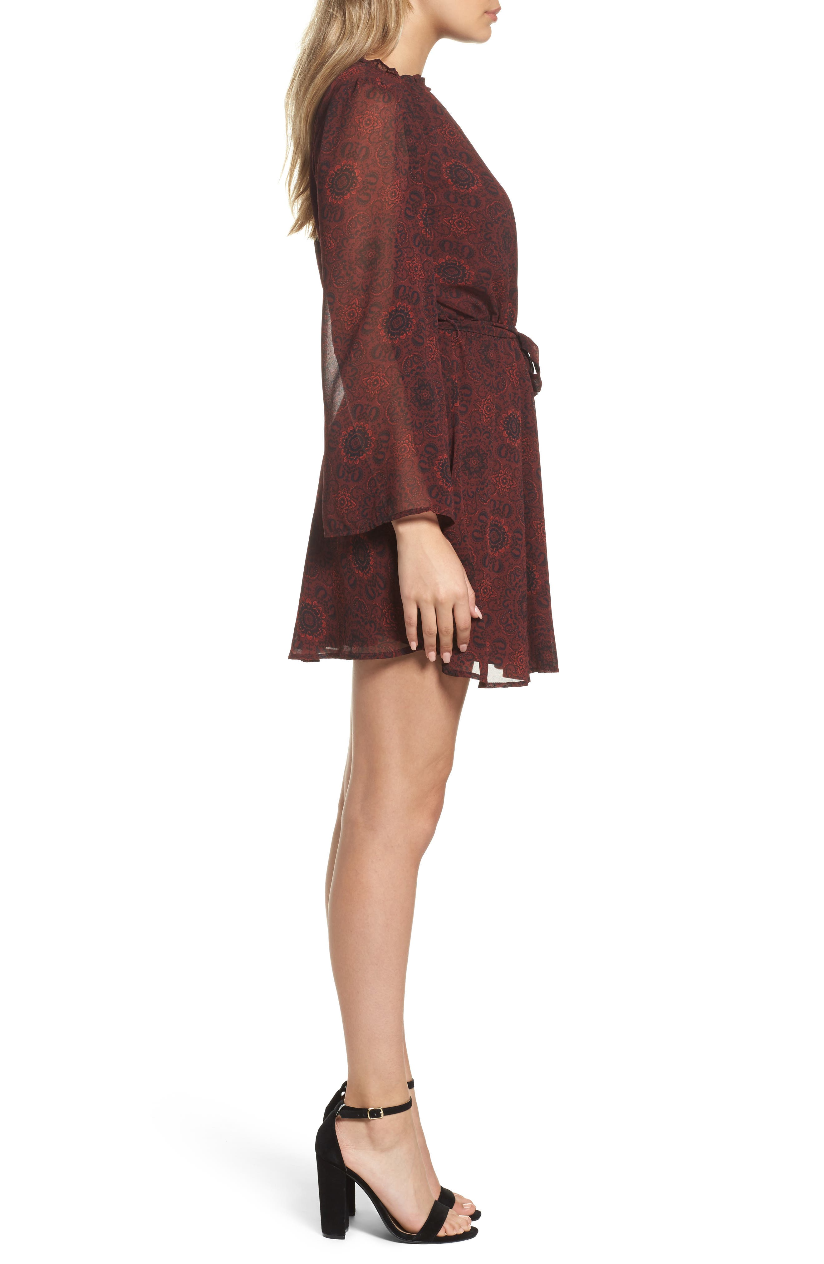 Branton Fit & Flare Dress,                             Alternate thumbnail 3, color,                             Bordeaux