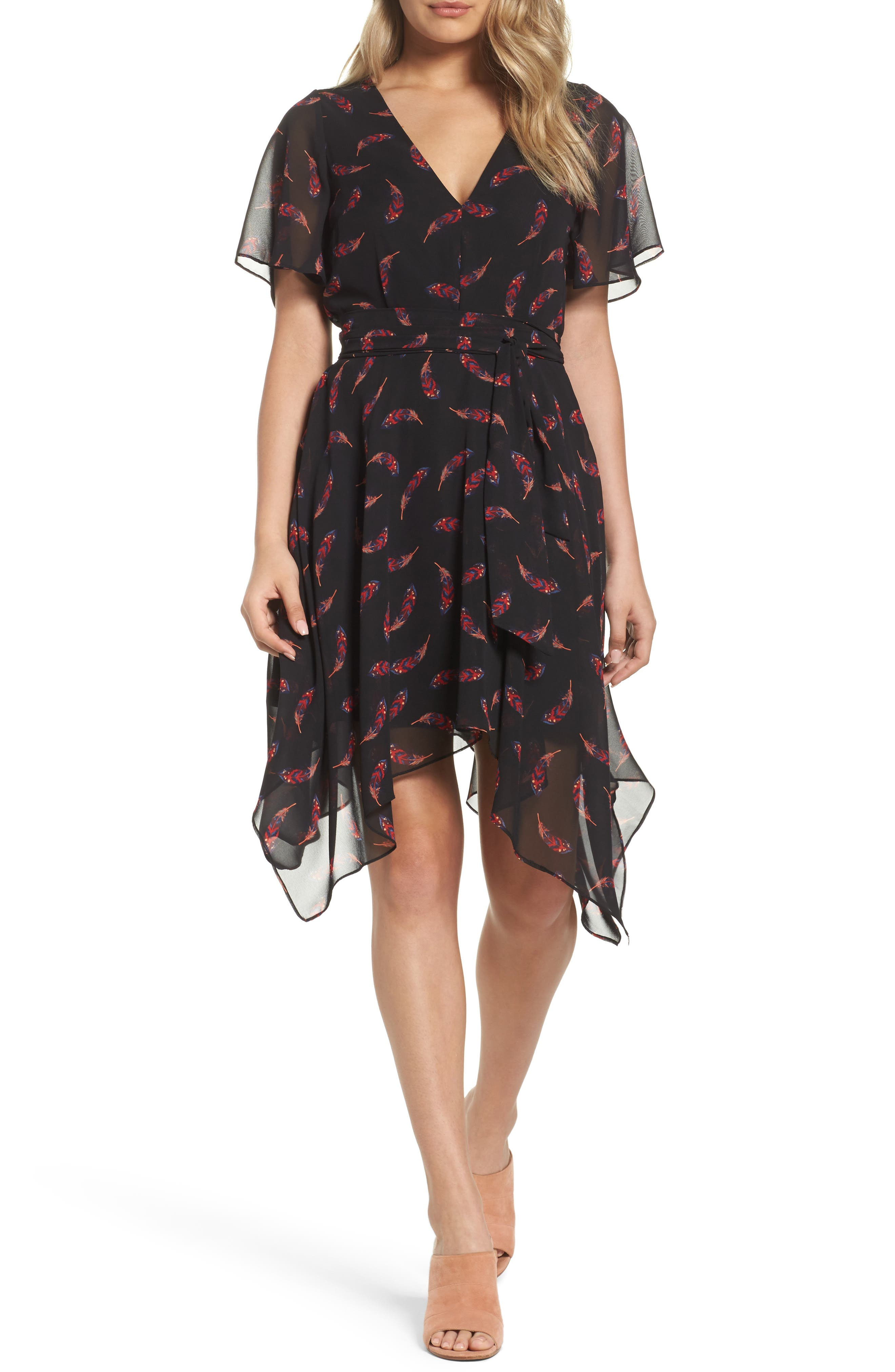 Handkerchief Hem Dress,                             Main thumbnail 1, color,                             Feather
