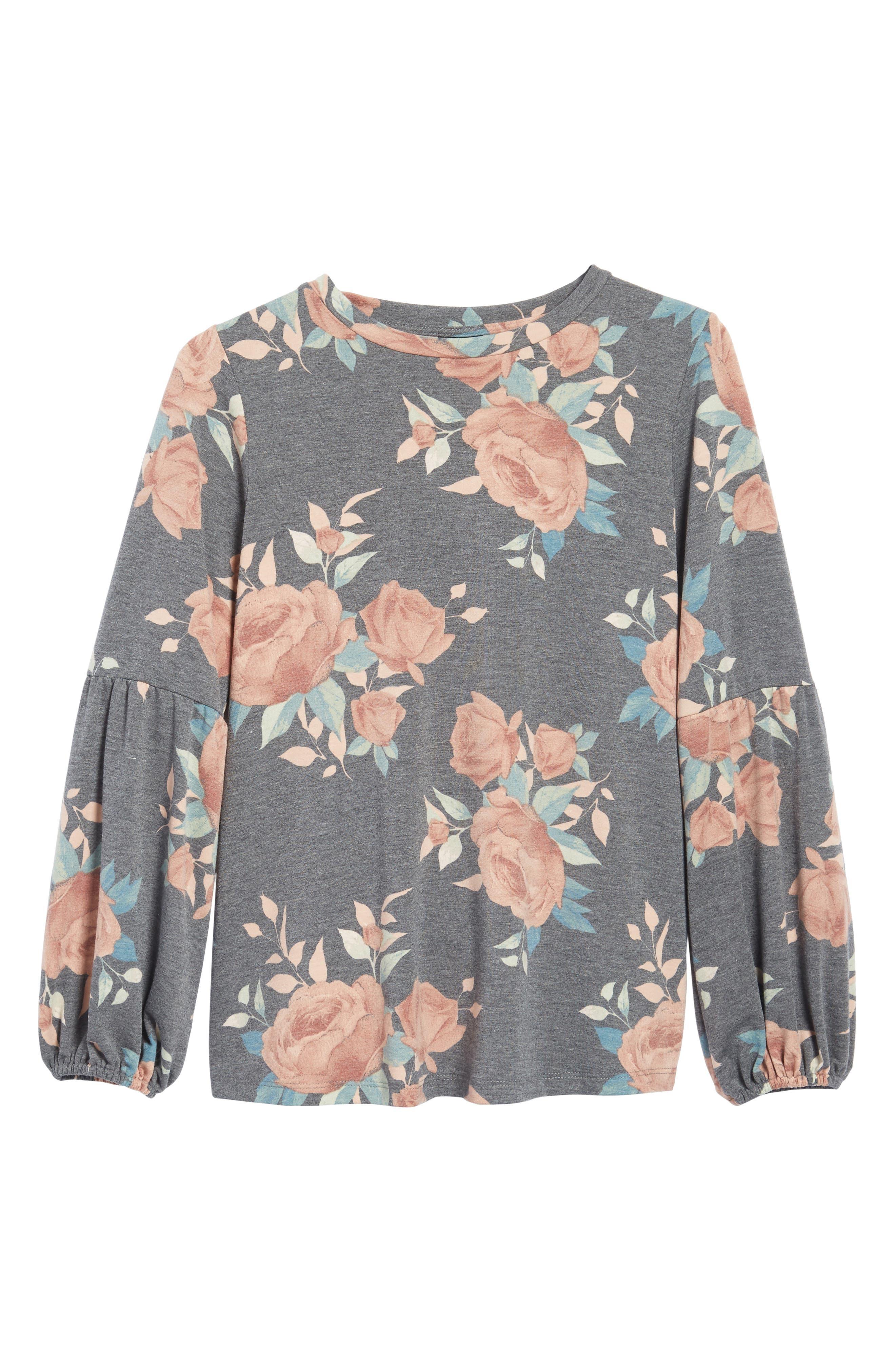 Floral Print Balloon Sleeve Sweatshirt,                             Alternate thumbnail 6, color,                             Black/ Blush