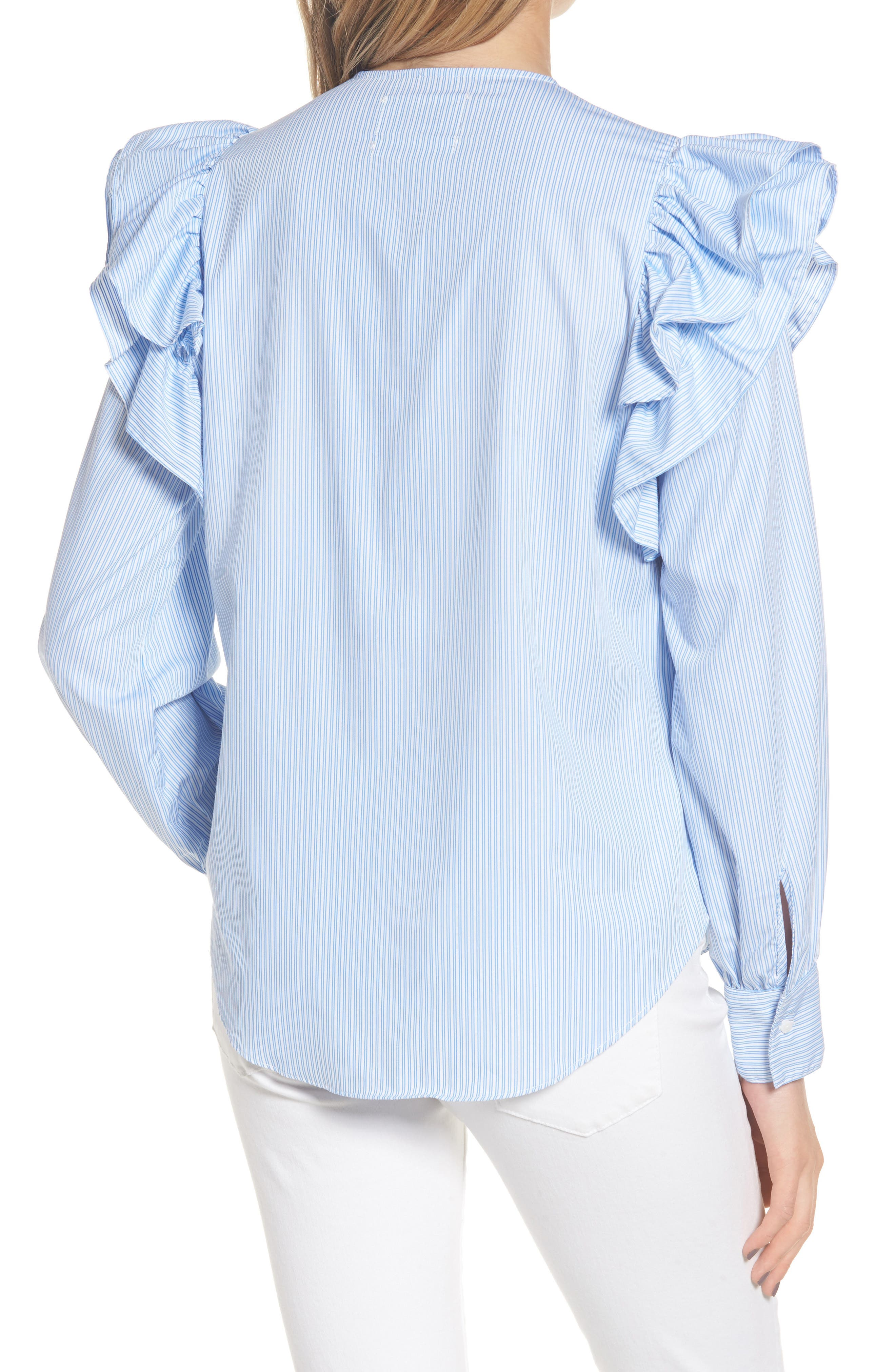 Girl Meets Boy Ruffle Top,                             Alternate thumbnail 3, color,                             Striped Blue