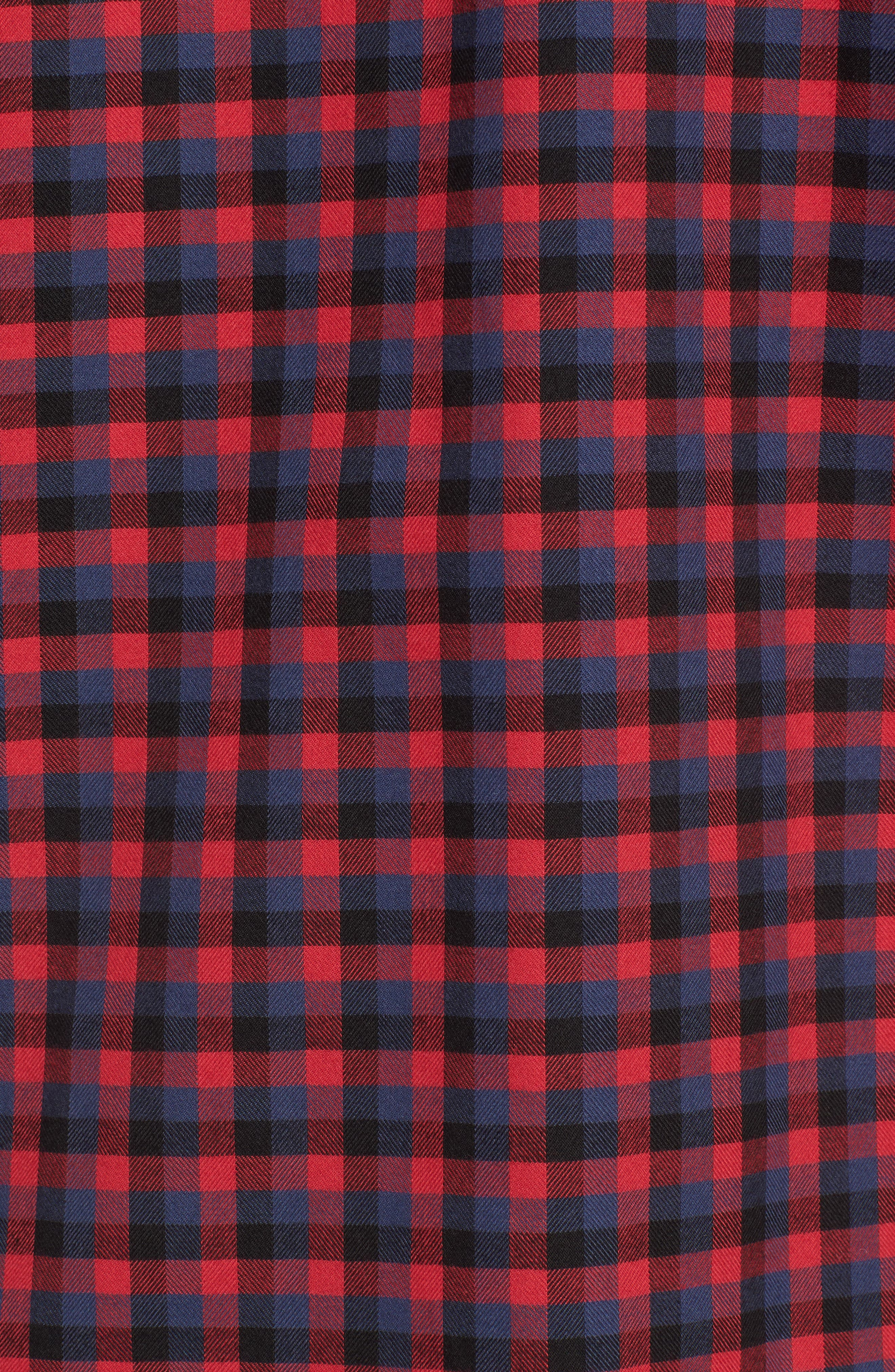 Classic Fit Buffalo Check Flannel Sport Shirt,                             Alternate thumbnail 5, color,                             Ruby