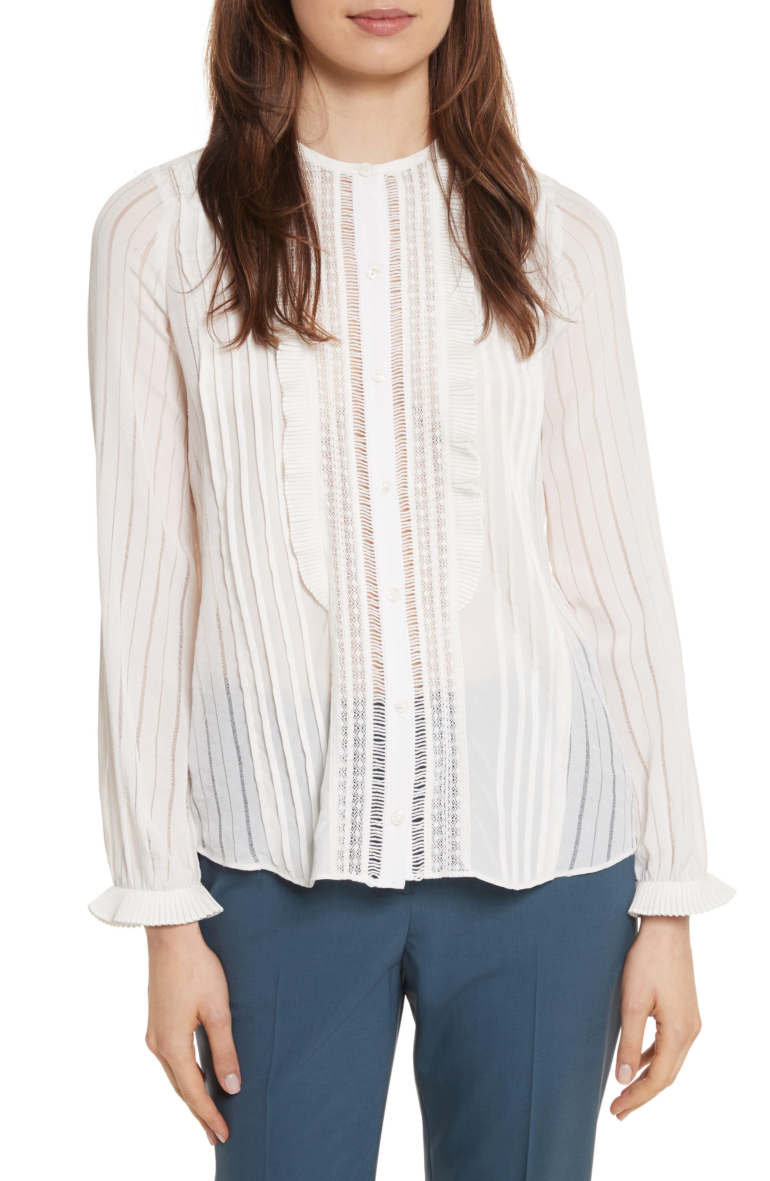 Rebecca Taylor Silk & Lace Long Sleeve Blouse
