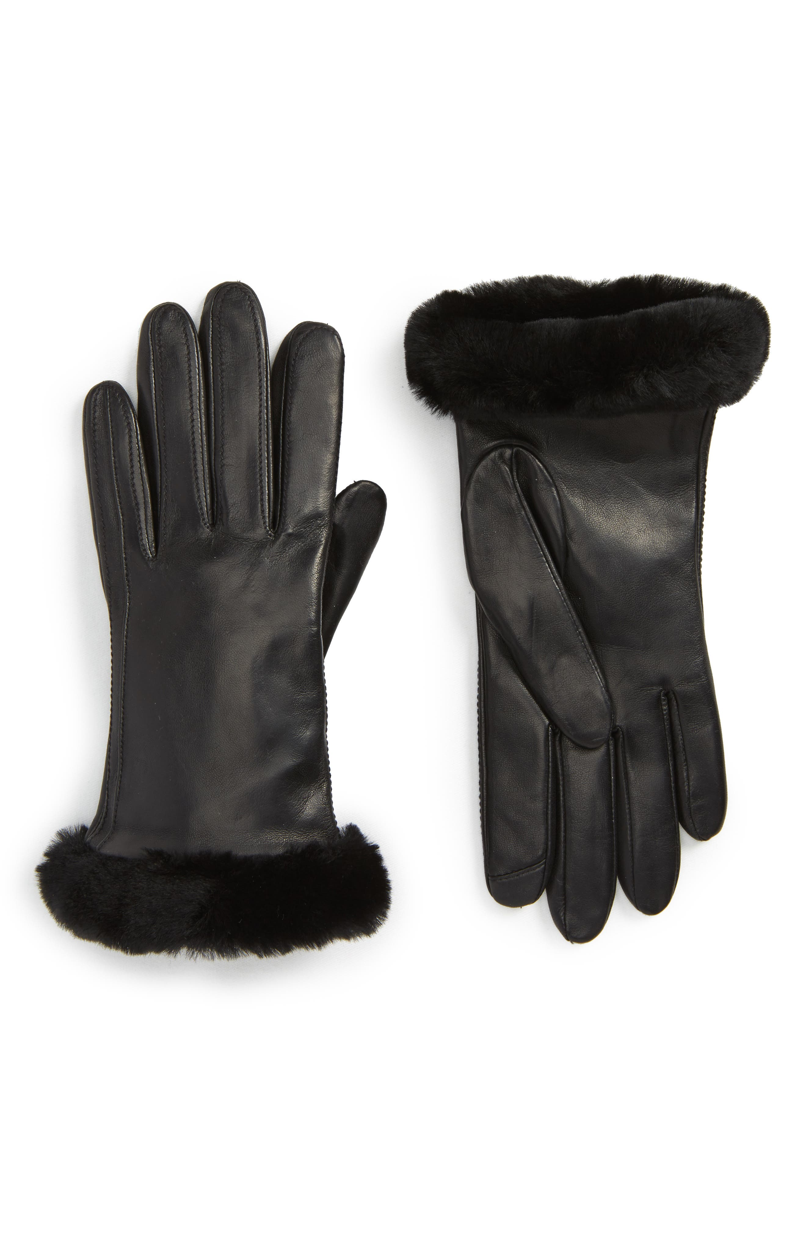 UGG<sup>®</sup> Classic Leather Tech Gloves with Genuine Shearling Trim,                             Main thumbnail 1, color,                             Black