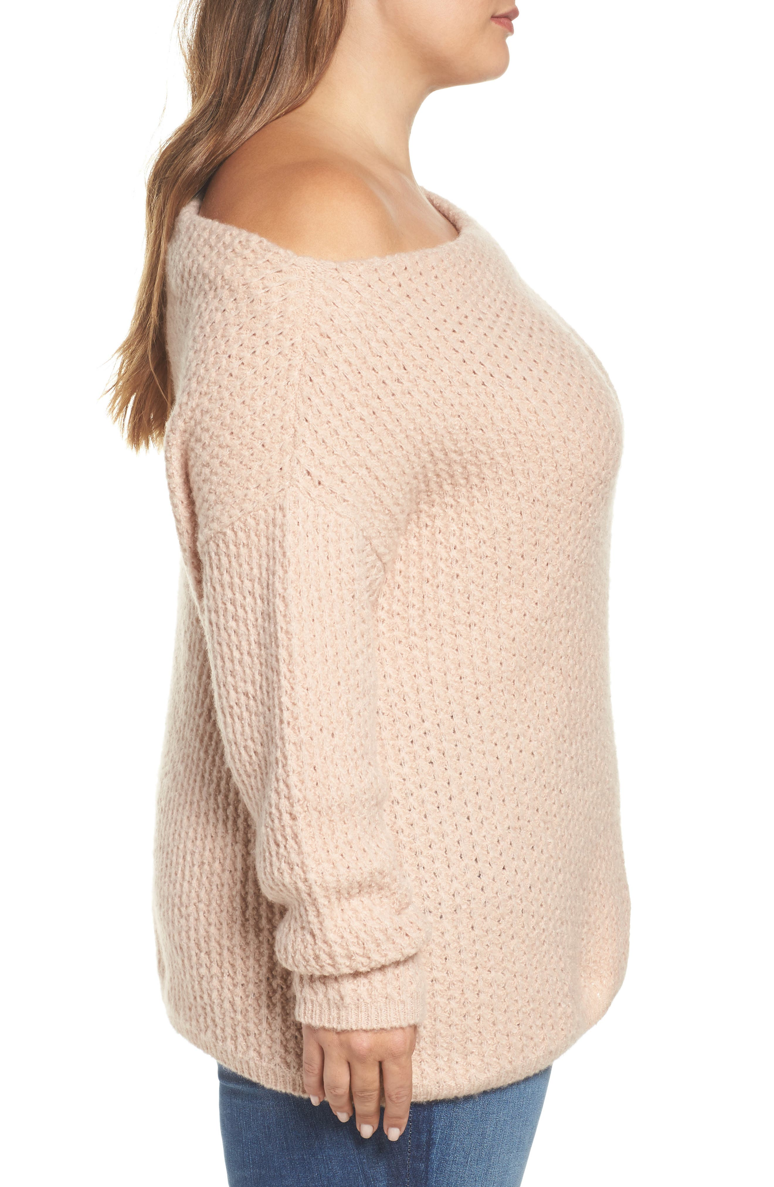 Off the Shoulder Sweater,                             Alternate thumbnail 4, color,                             Blossom