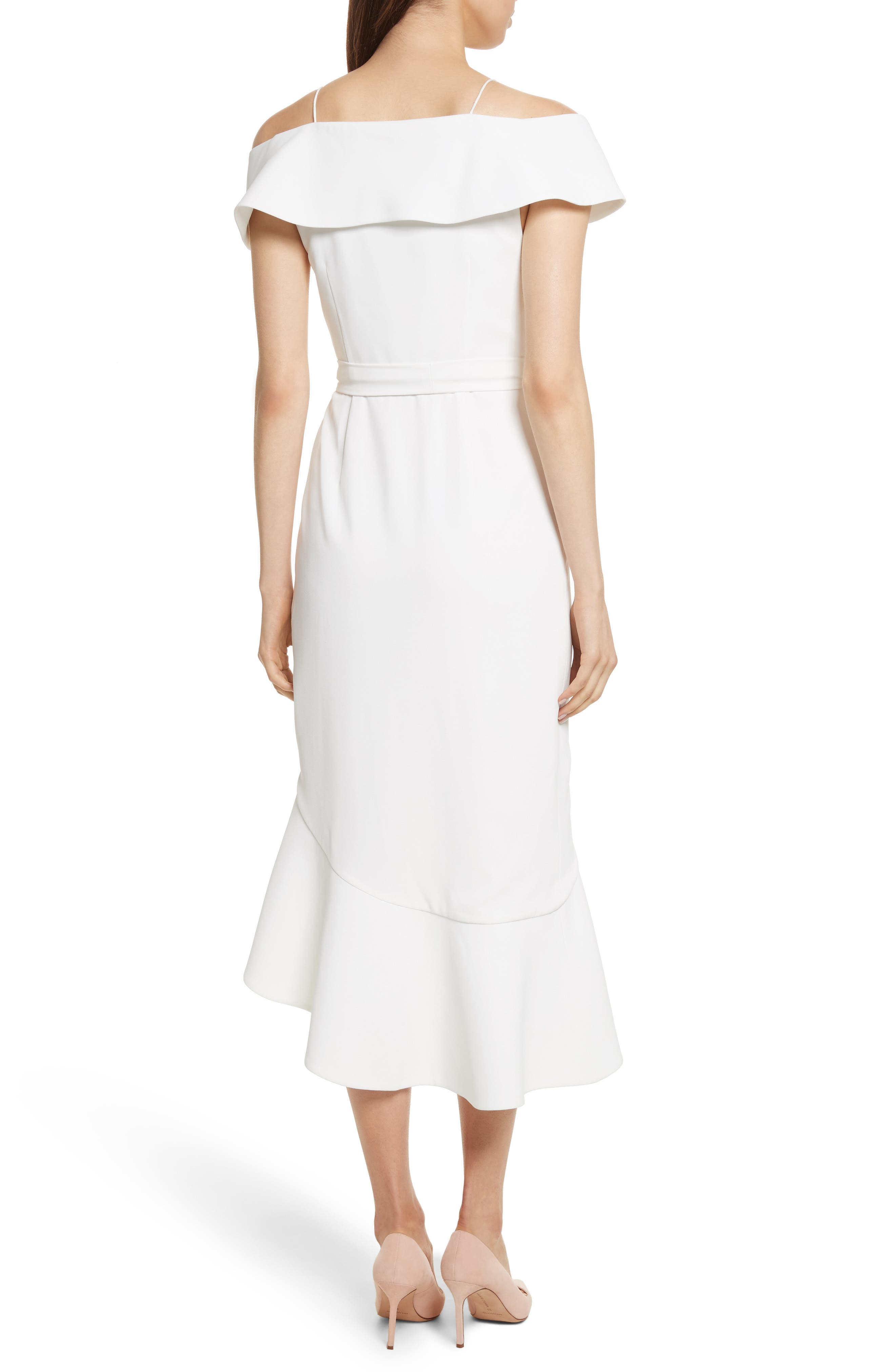 Josie Off the Shoulder Ruffle Wrap Dress,                             Alternate thumbnail 2, color,                             Off White