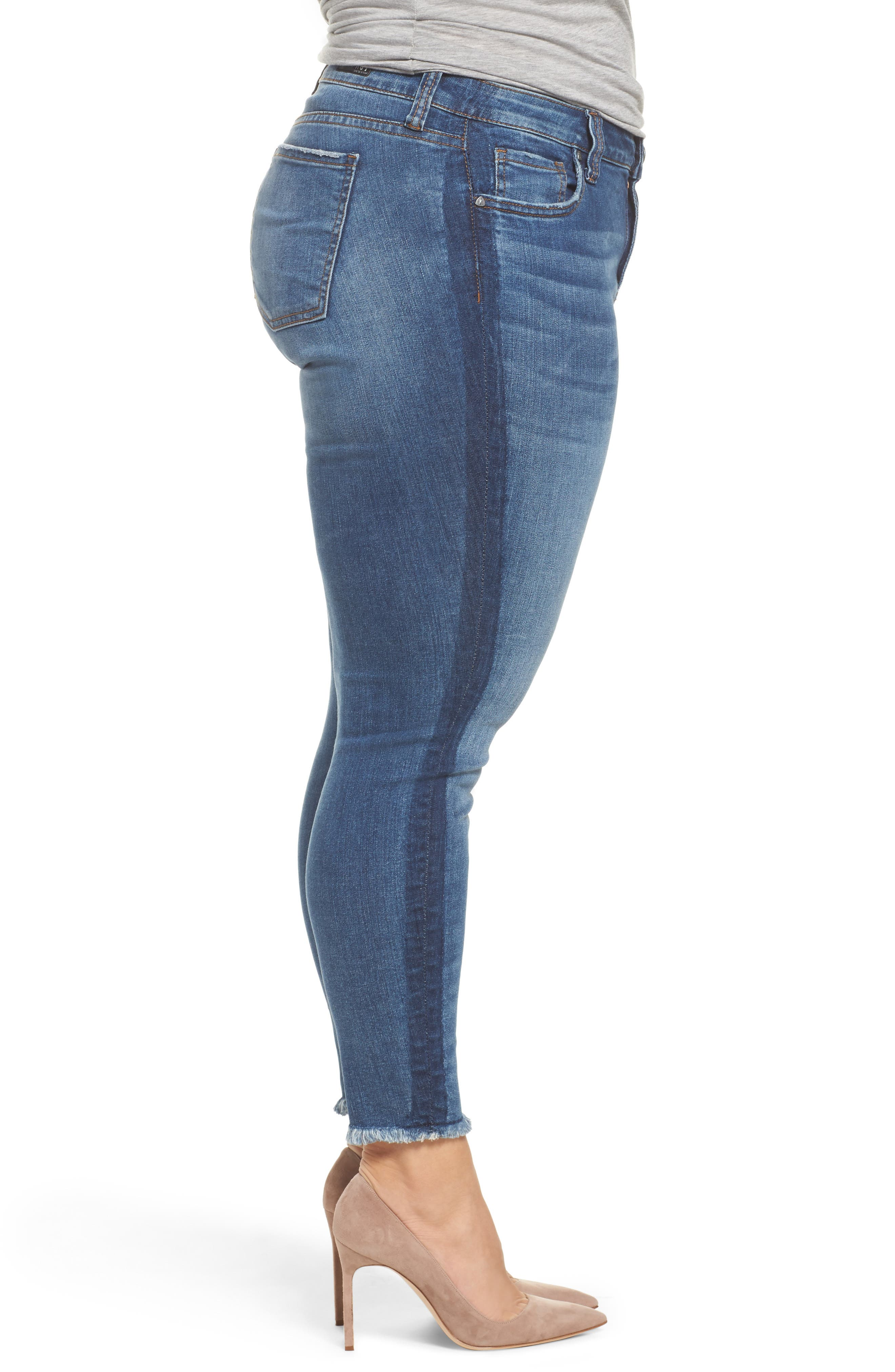Alternate Image 4  - KUT from the Kloth Connie Frayed Skinny Ankle Jeans (Prolific) (Plus Size)
