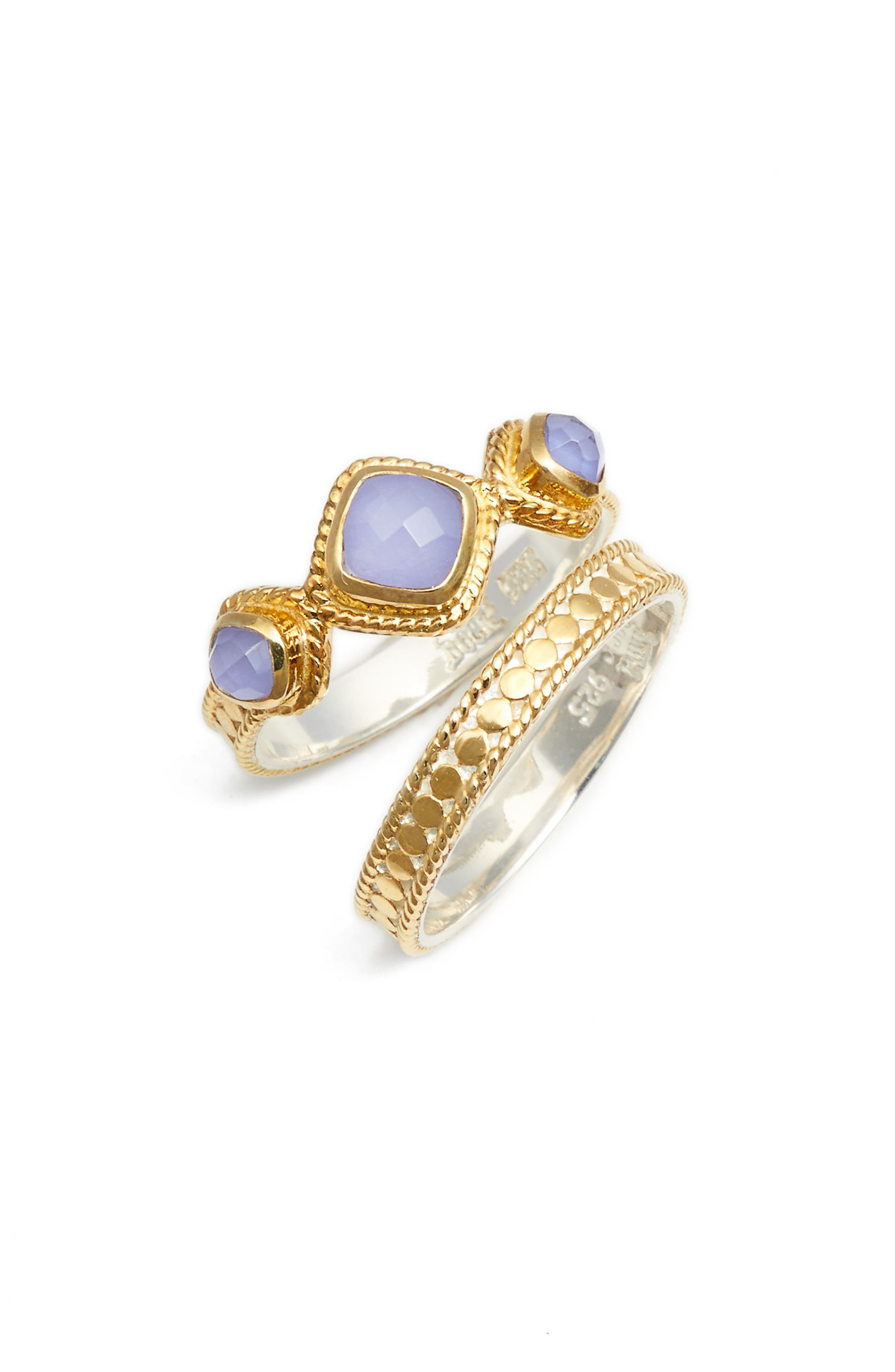 Set of 2 Stacking Rings,                         Main,                         color, Gold/ Blue Chalcedony
