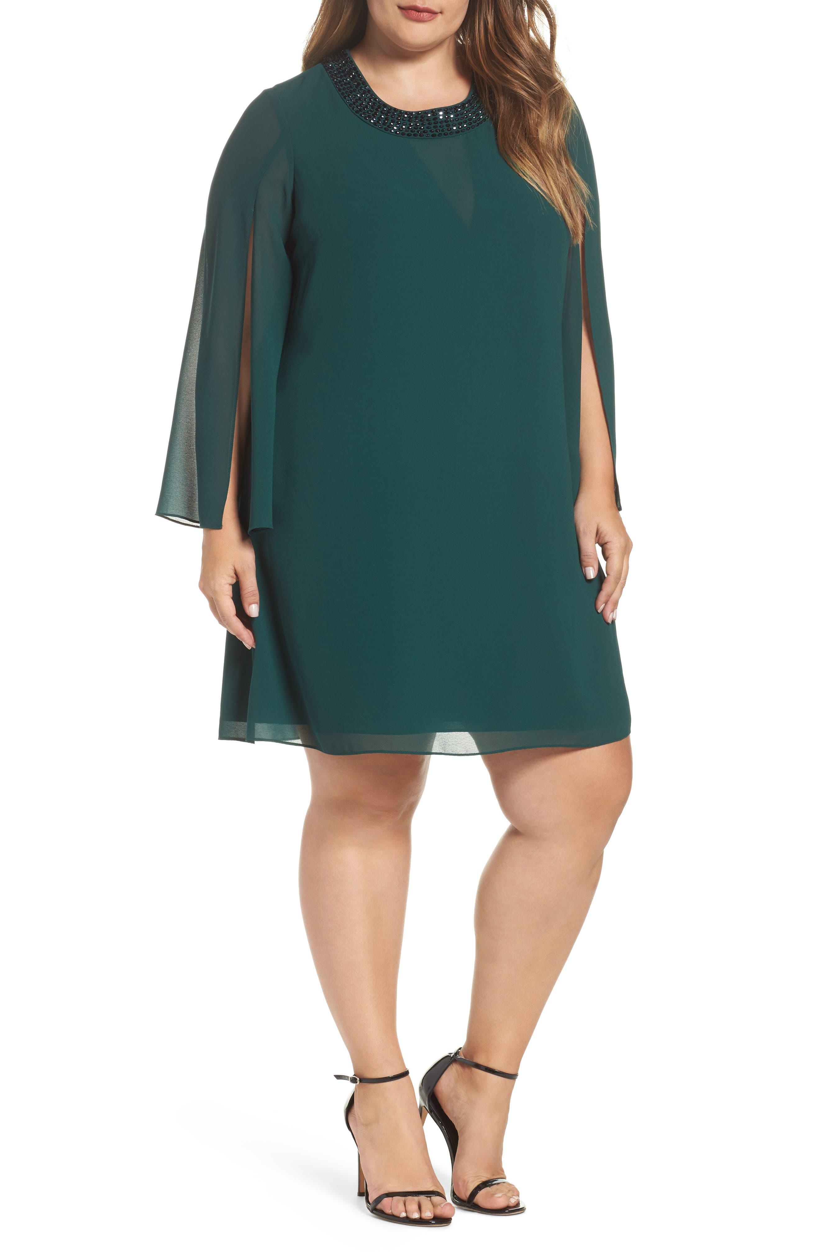 Vince Camuto Embellished Neck Chiffon Shift Dress (Plus Size)
