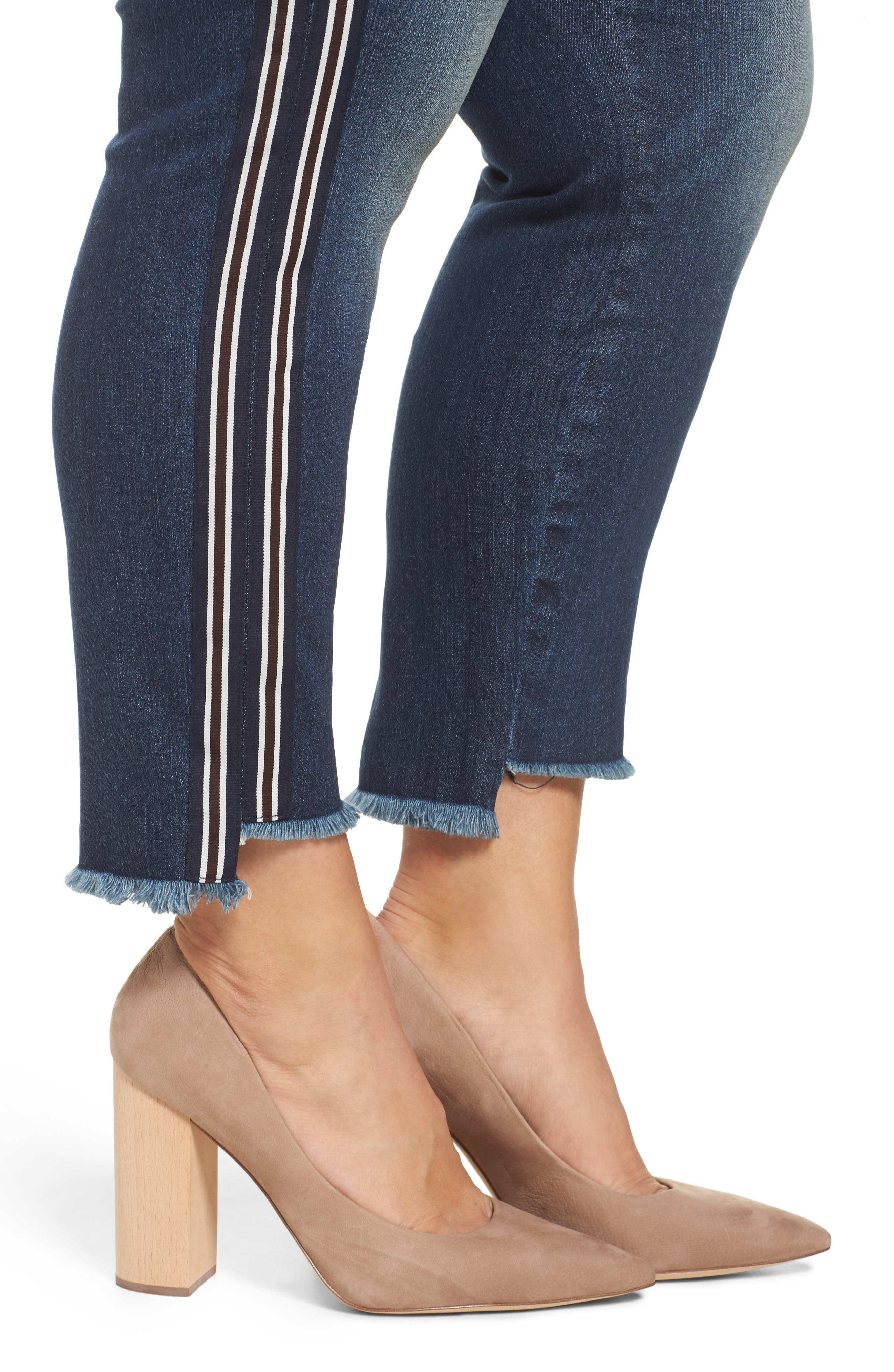 Alternate Image 4  - KUT from the Kloth Reese Side Stripe Uneven Ankle Jeans (Analyzed) (Plus Size)