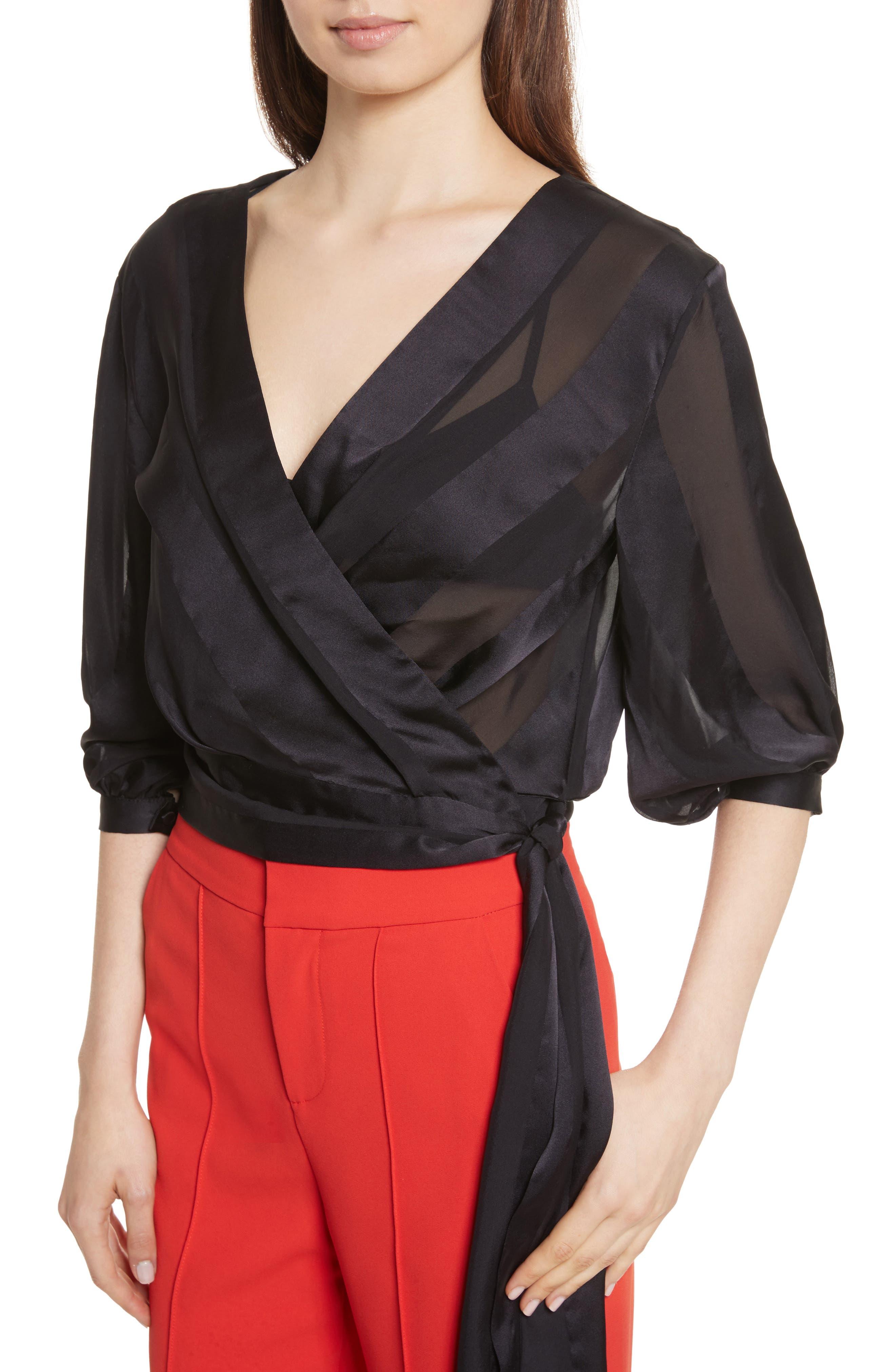 Dyanna Wrap Front Blouson Silk Top,                             Alternate thumbnail 4, color,                             Black