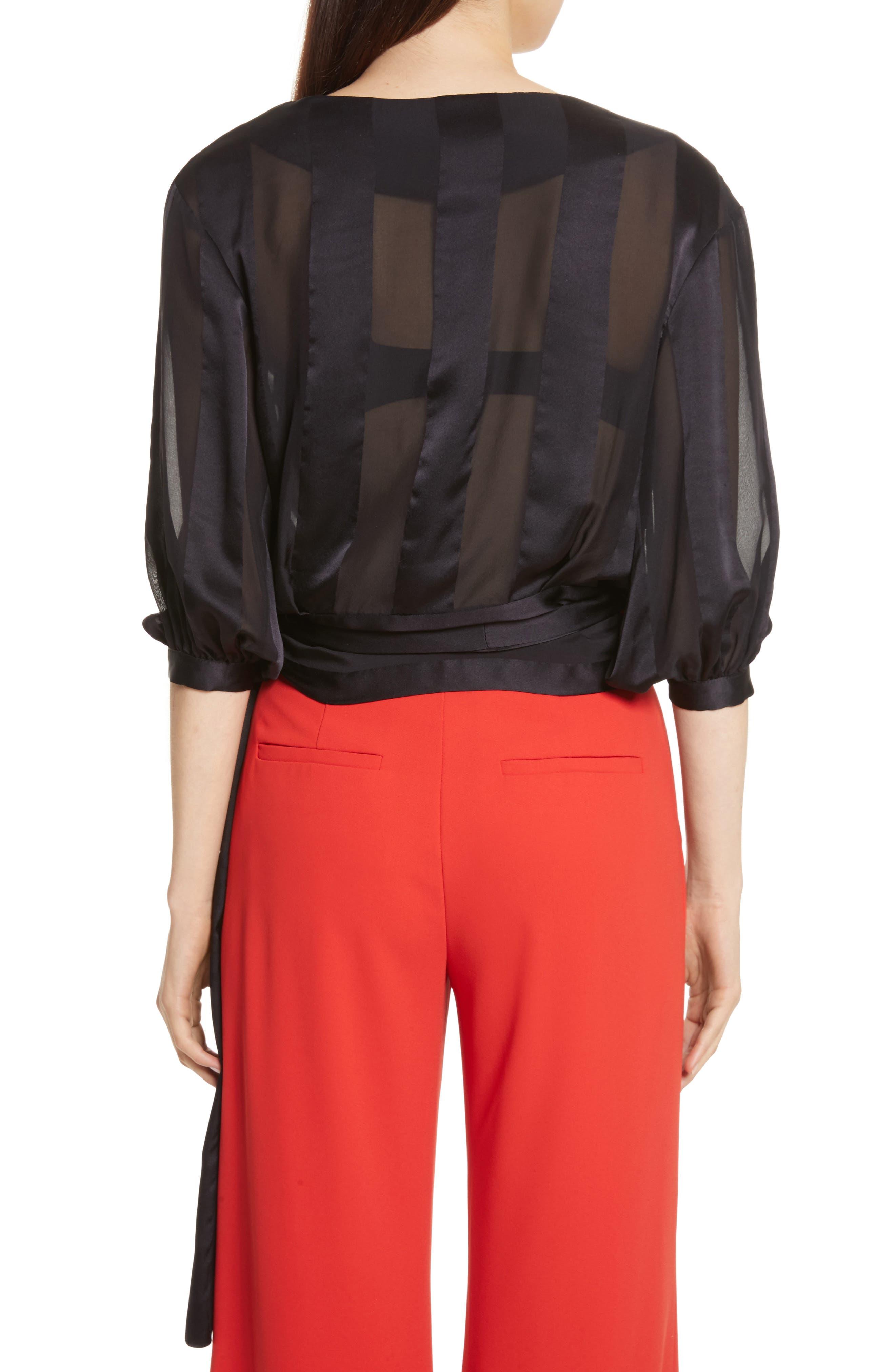 Dyanna Wrap Front Blouson Silk Top,                             Alternate thumbnail 2, color,                             Black