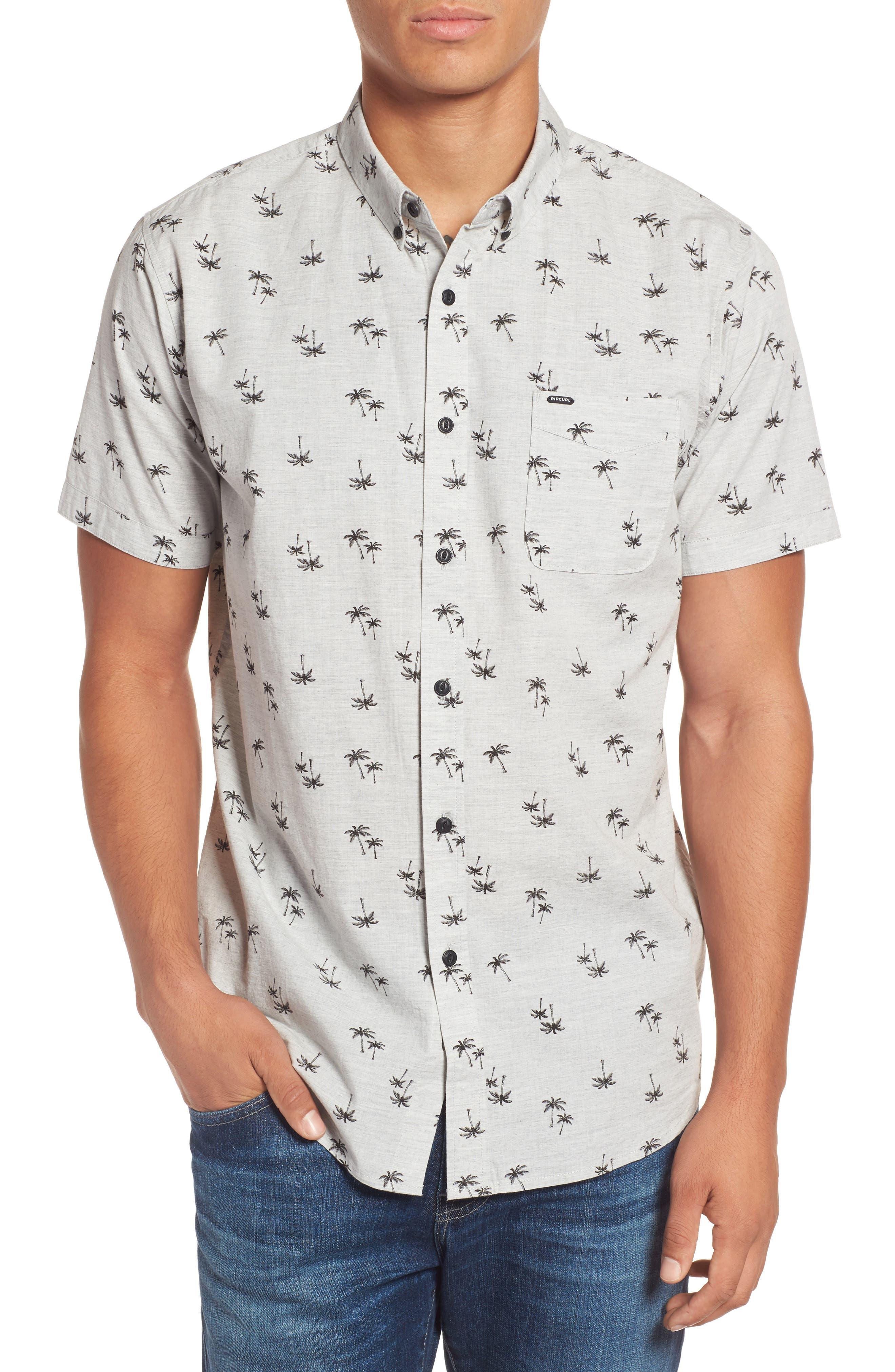 Palm Tree Print Woven Shirt,                         Main,                         color, Grey