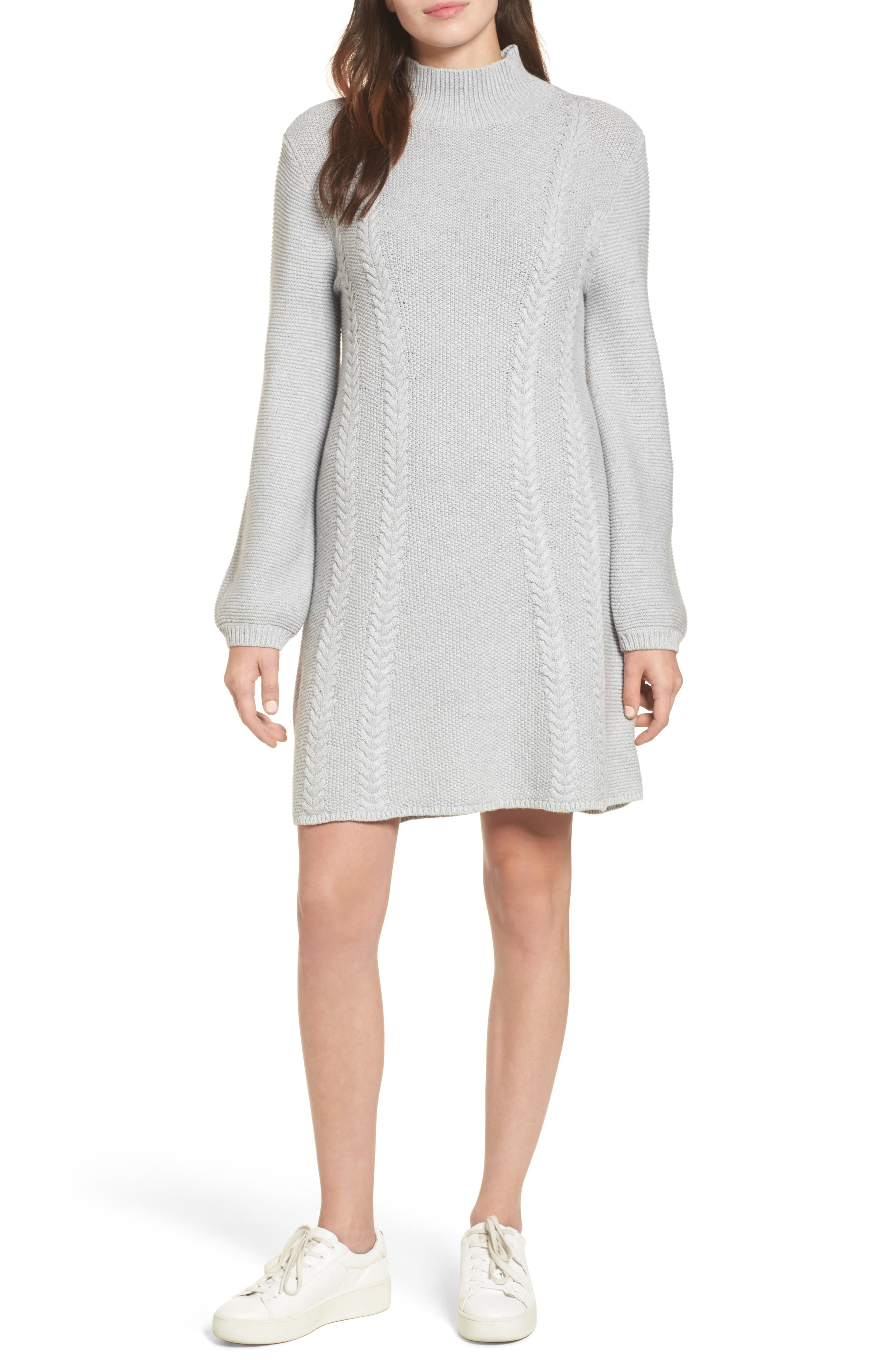 Cable Knit Sweater Dress,                             Main thumbnail 1, color,                             Grey Heather